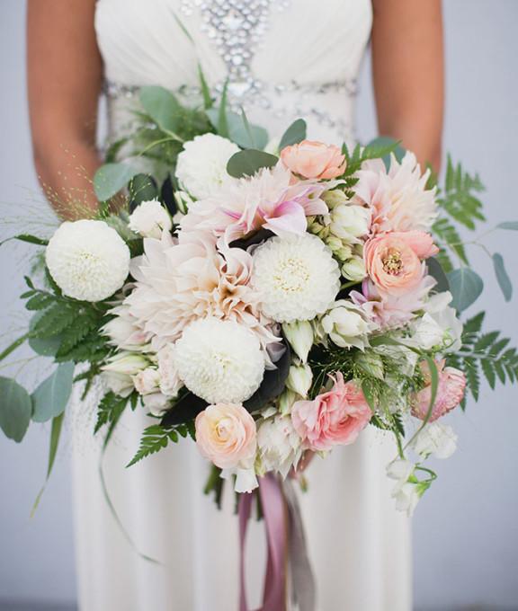 pastel bouquet with dahlias