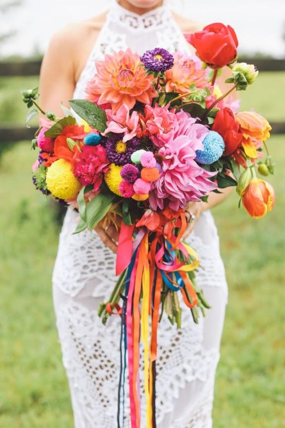 rainbow dahlia bouquet - Lara Hotz photography