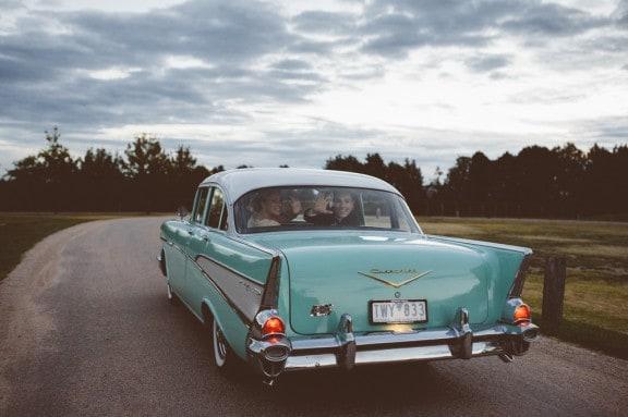 Mint vintage Chevy wedding car