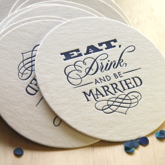 Eat Drink and Be Married letterpress coasters   Top Australian Etsy Stores for Weddings