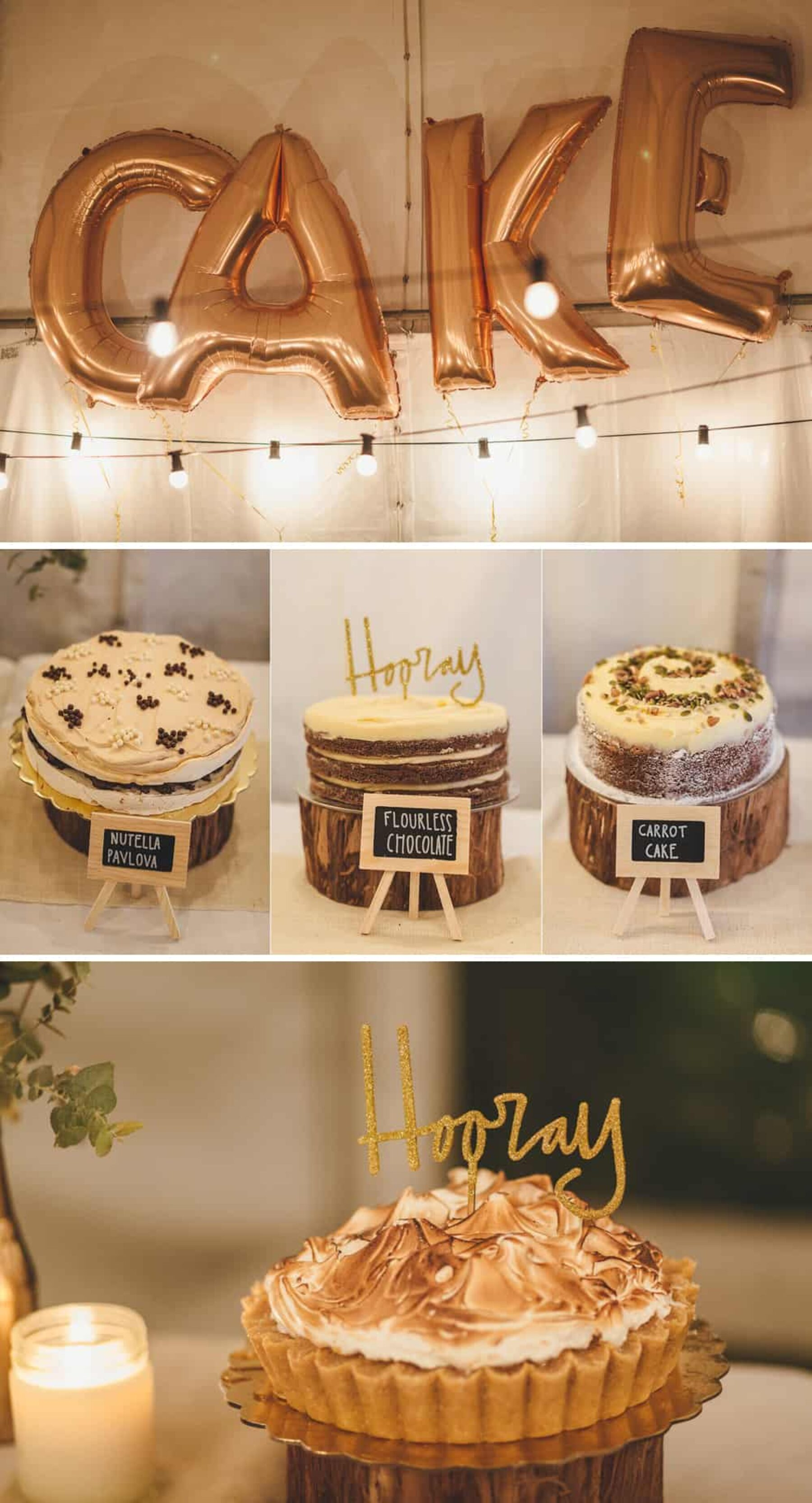 Cake buffet with gold letter balloons
