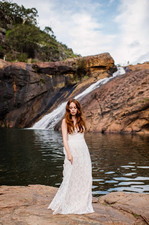 Breathtaking bridal editorial at Serpentine Falls, Western Australia | Fiona Vail Photography
