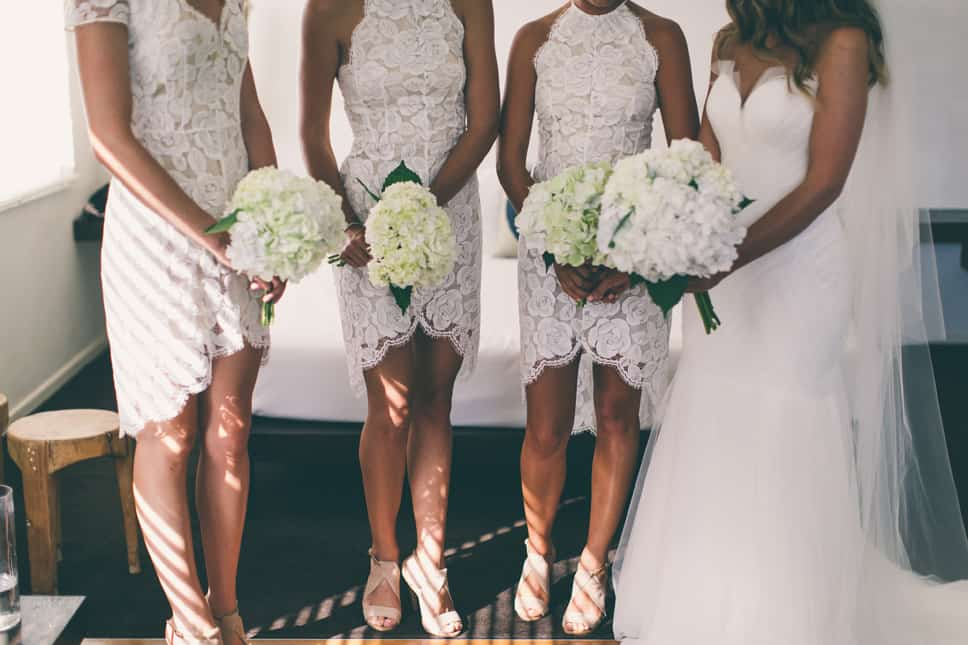 White bridesmaid dresses by Lover
