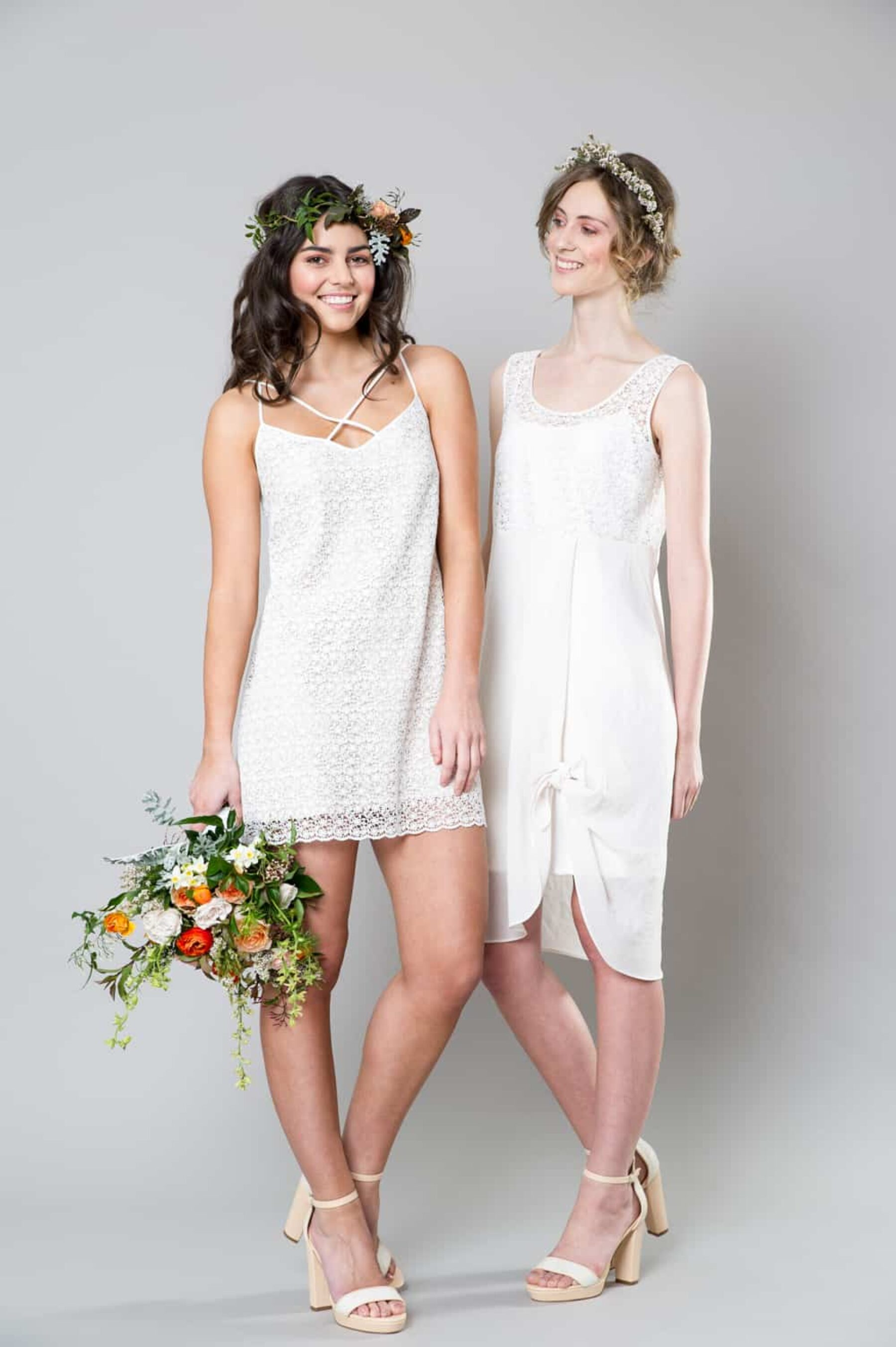 White bridesmaid dresses by Sally Eagle