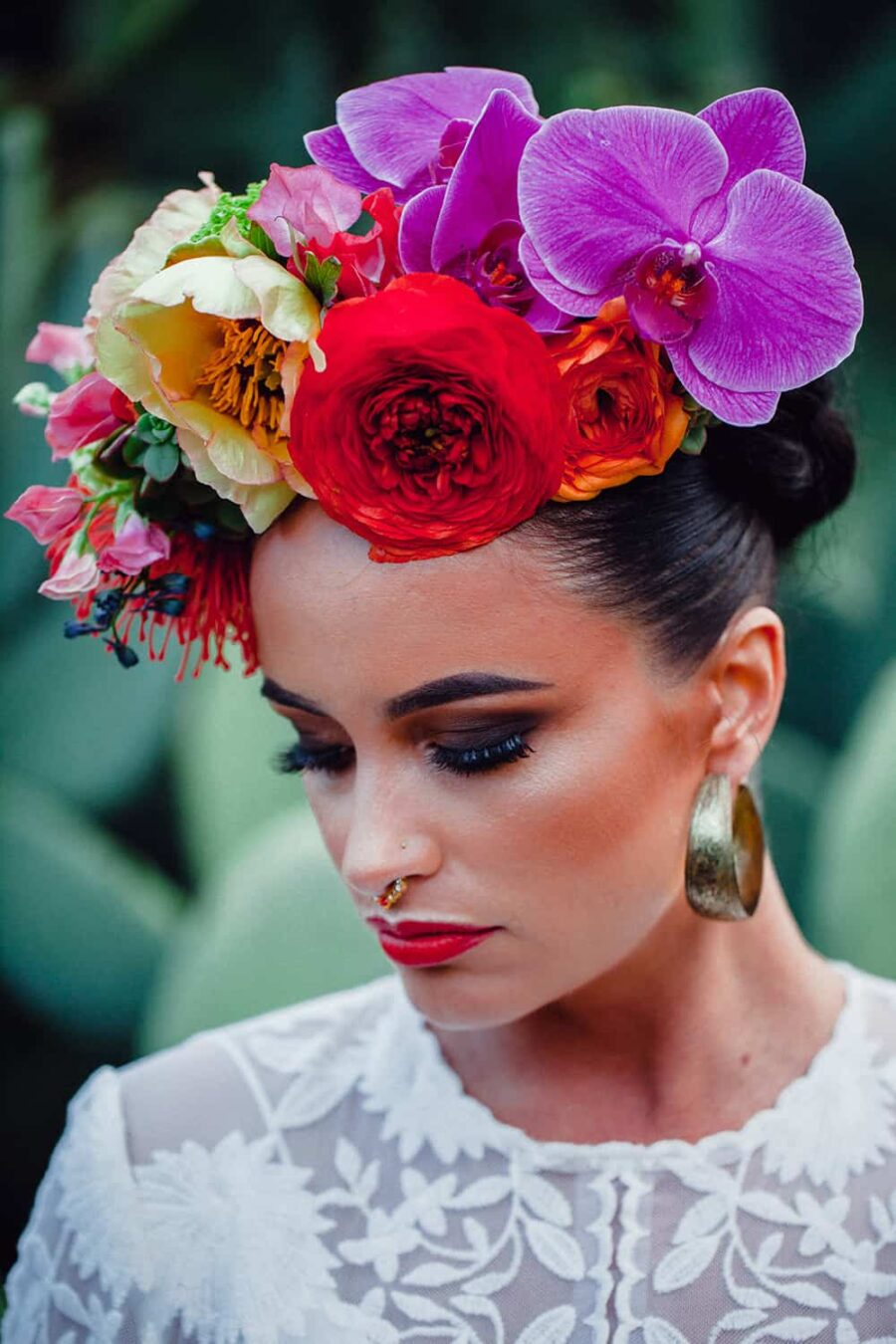 oversized flower crown with orchids