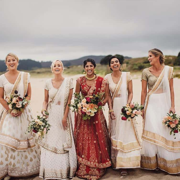 bride and bridesmaids in Indian dress