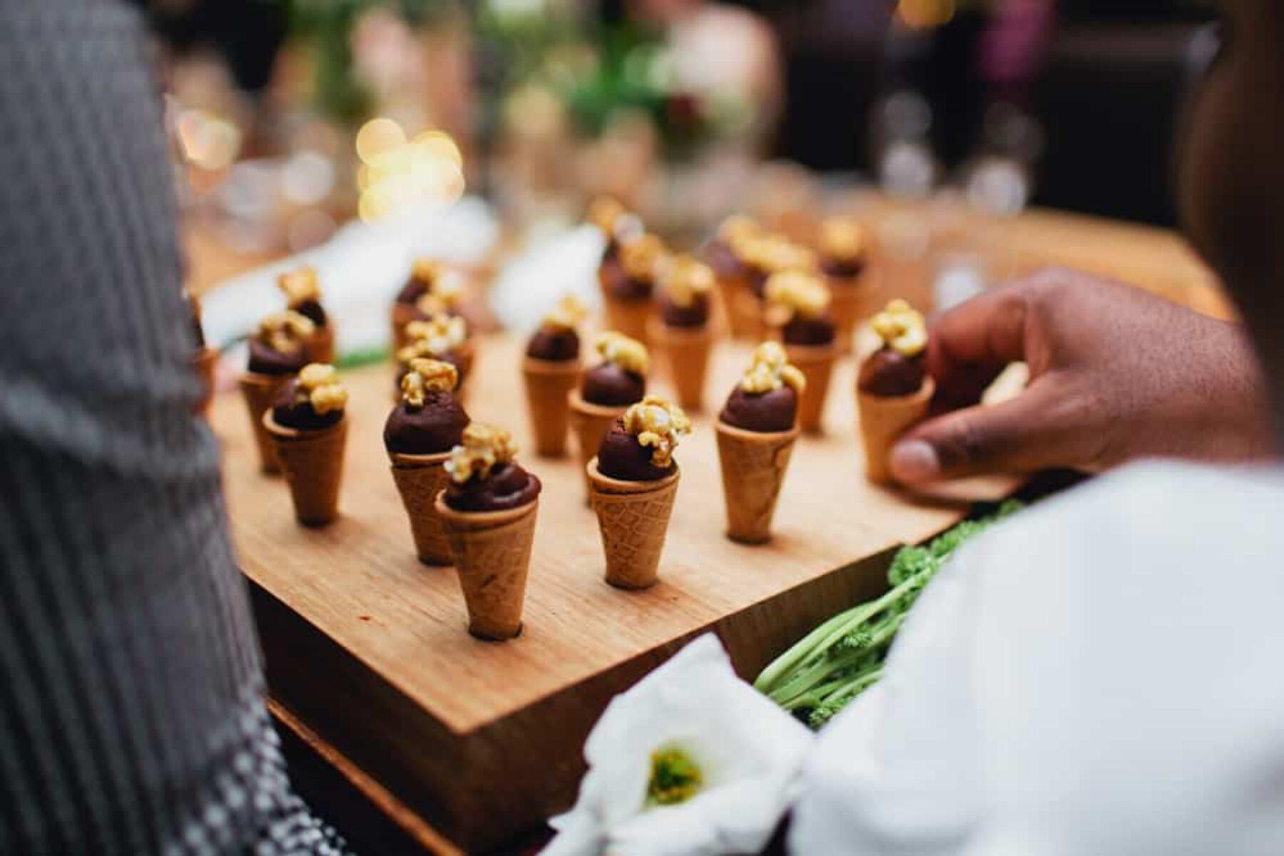 dessert canapes - mini ice cream cones