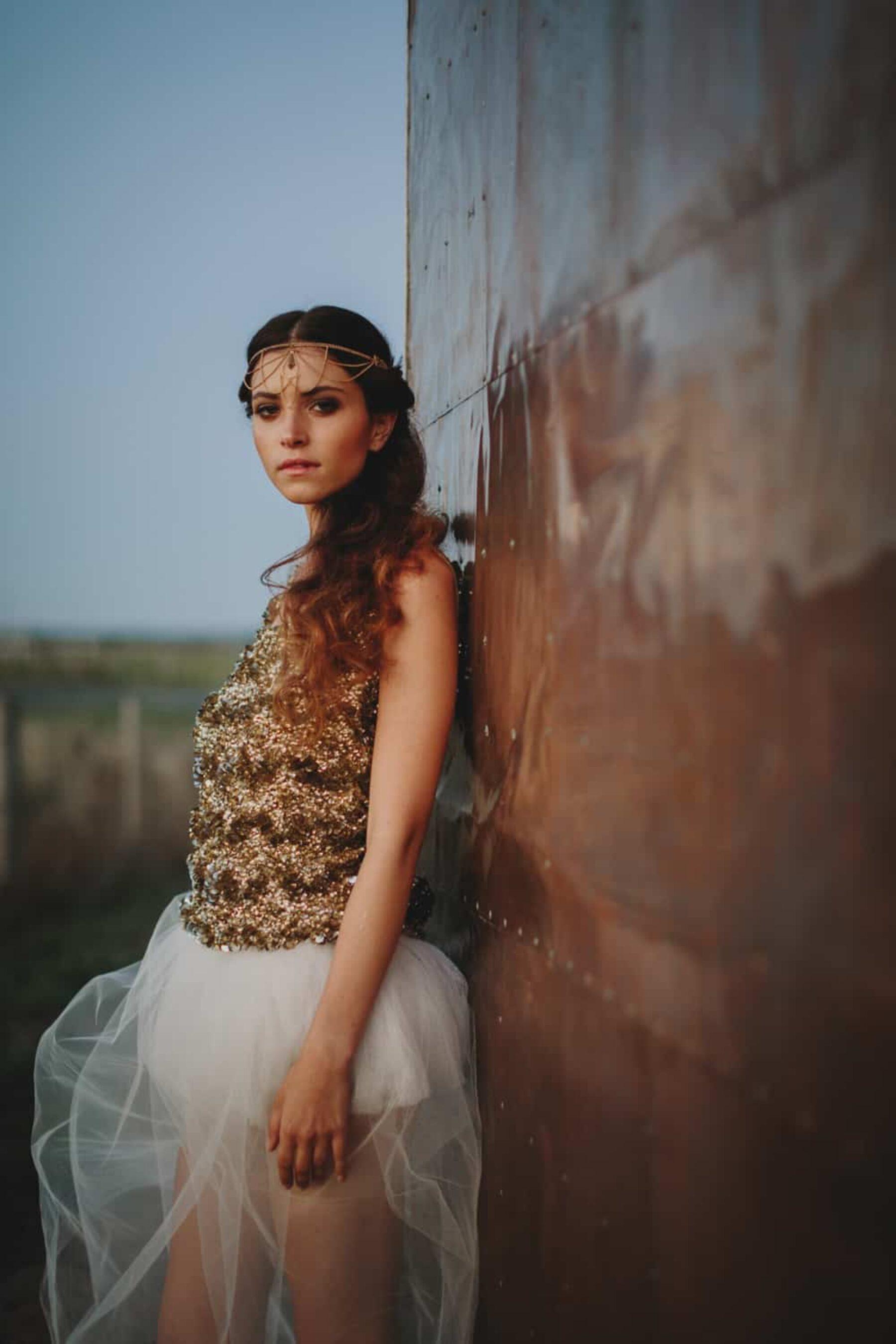 gold wedding dress and headpiece