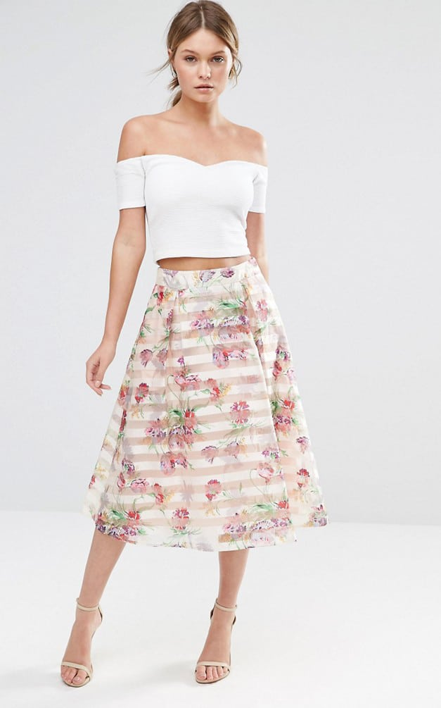 Bridesmaid trend - separates | floral skirt and off-the-shoulder top
