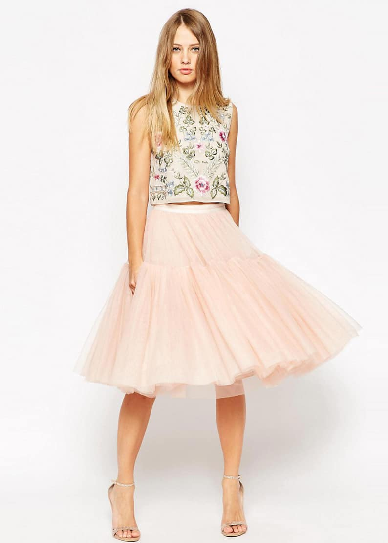 Voluminous tulle ballet skirt by Needle & Thread / embellished bib top by Needle & Thread