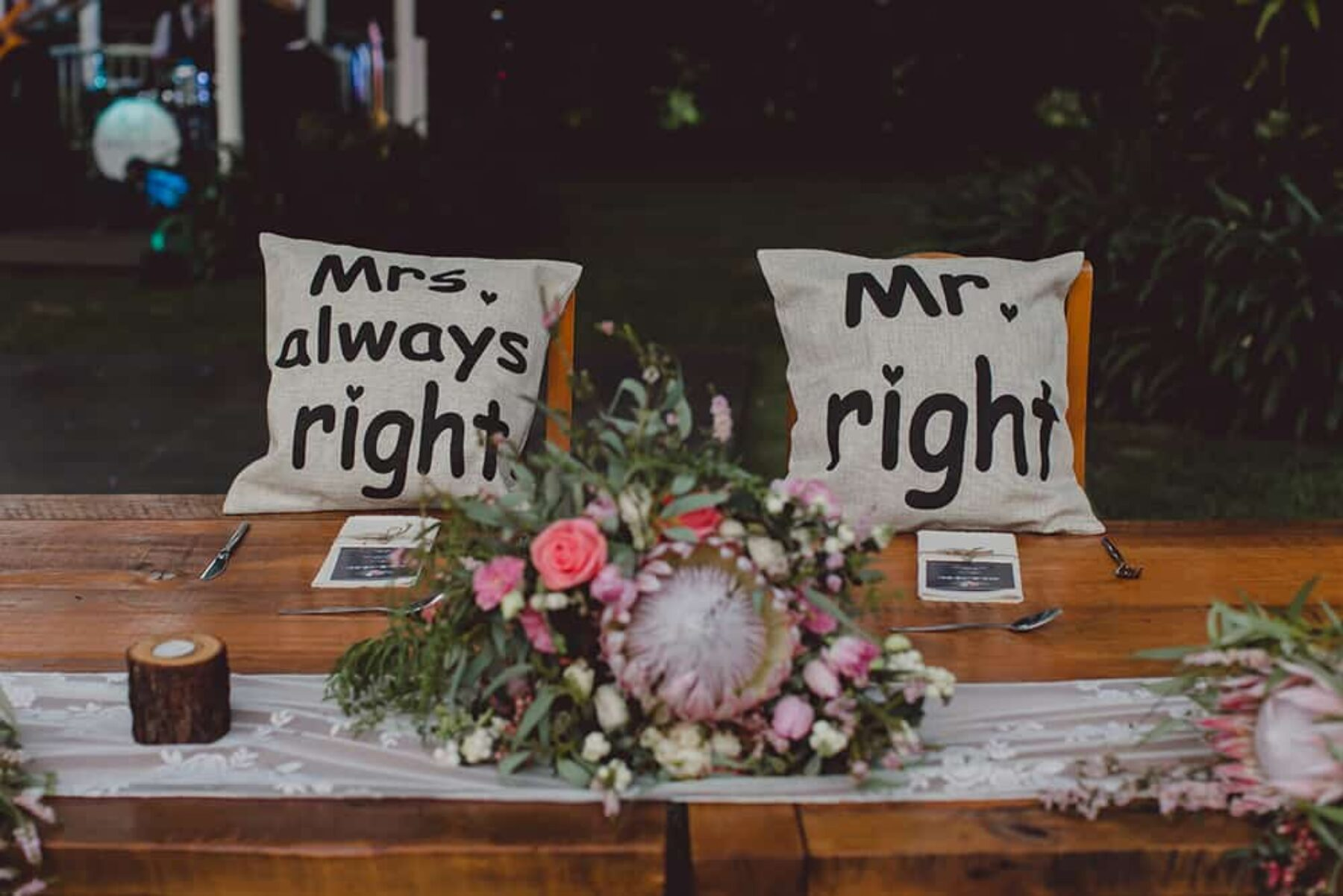 Mr Right & Mrs Always Right cushions
