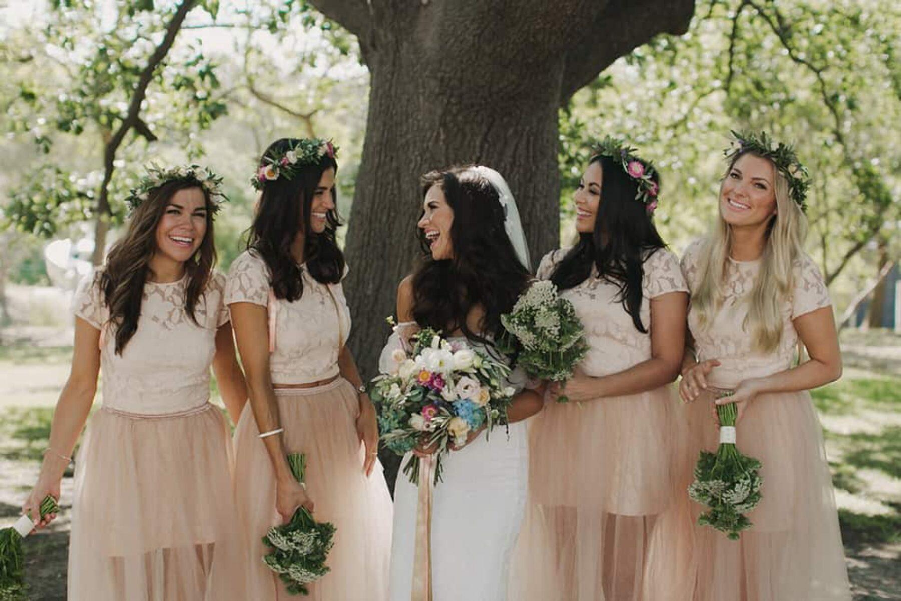 blush crop top bridesmaid dresses