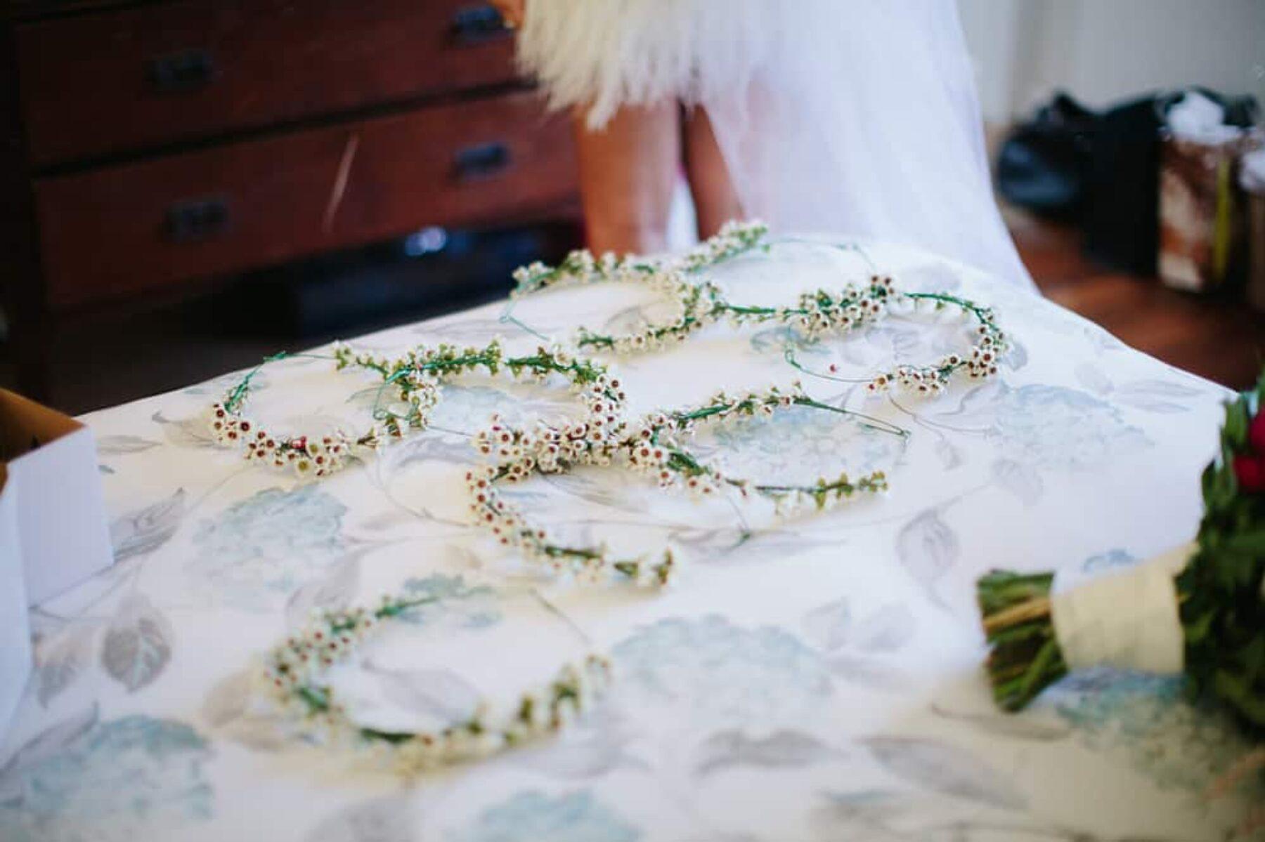white wax flower crowns