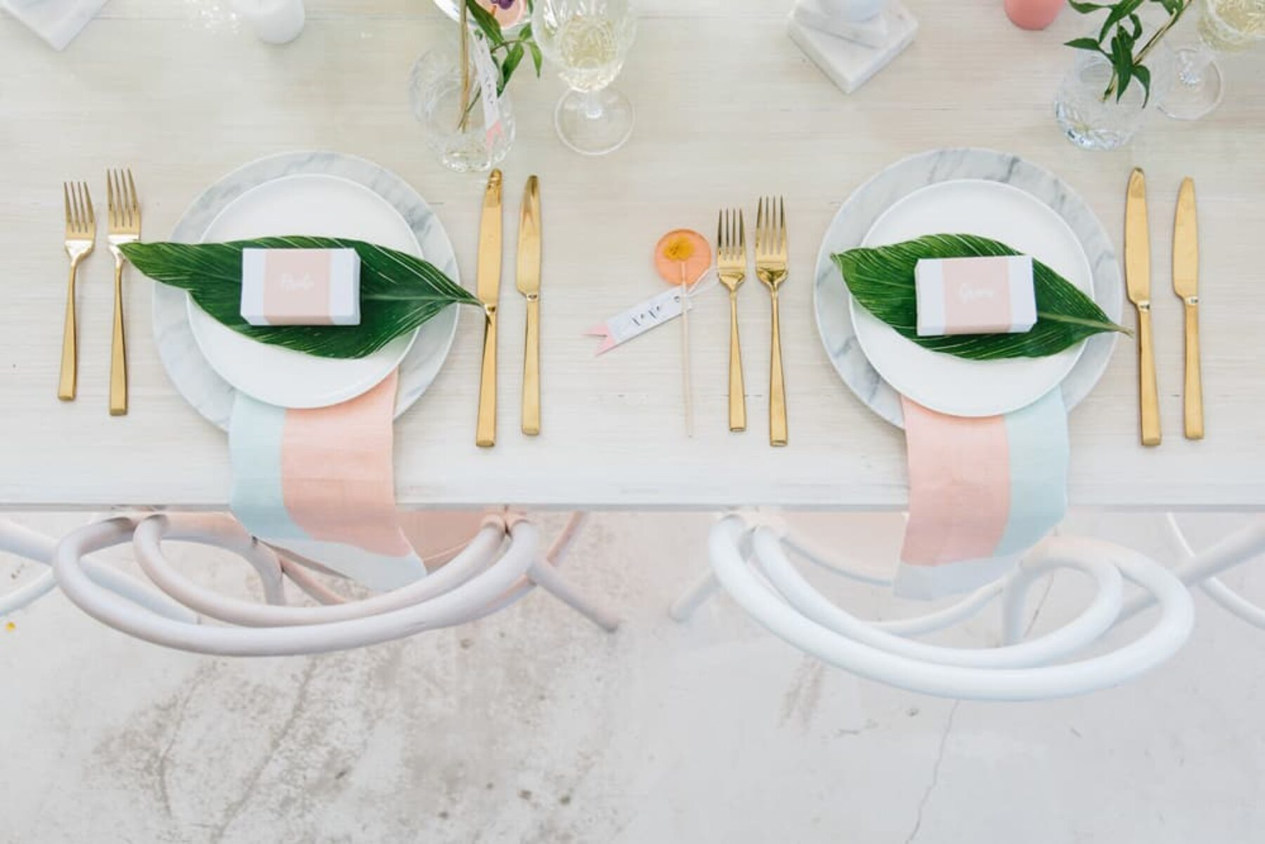 botanic table setting with gold cutlery