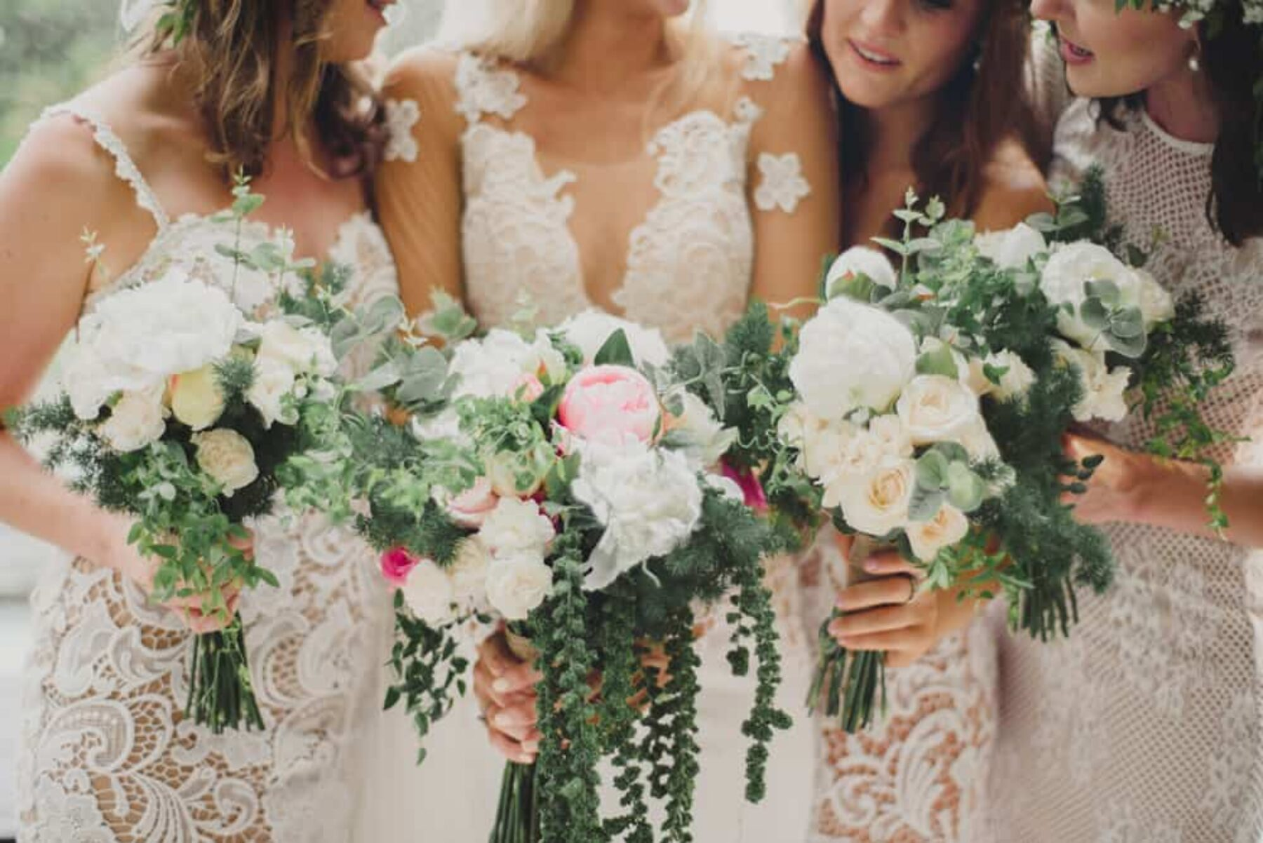 soft pink bride and bridesmaid bouquets