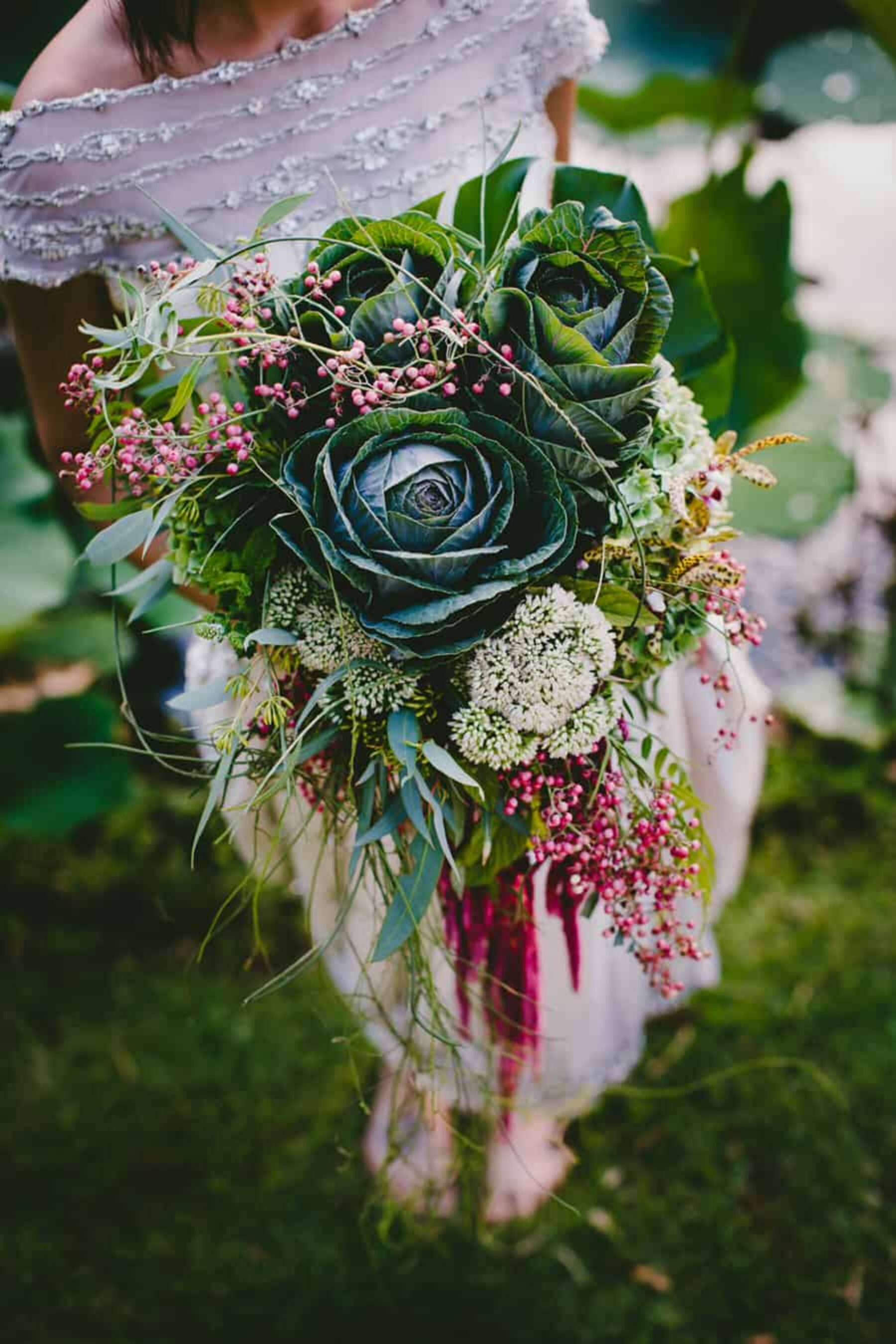unstructured bouquet with flowering kale