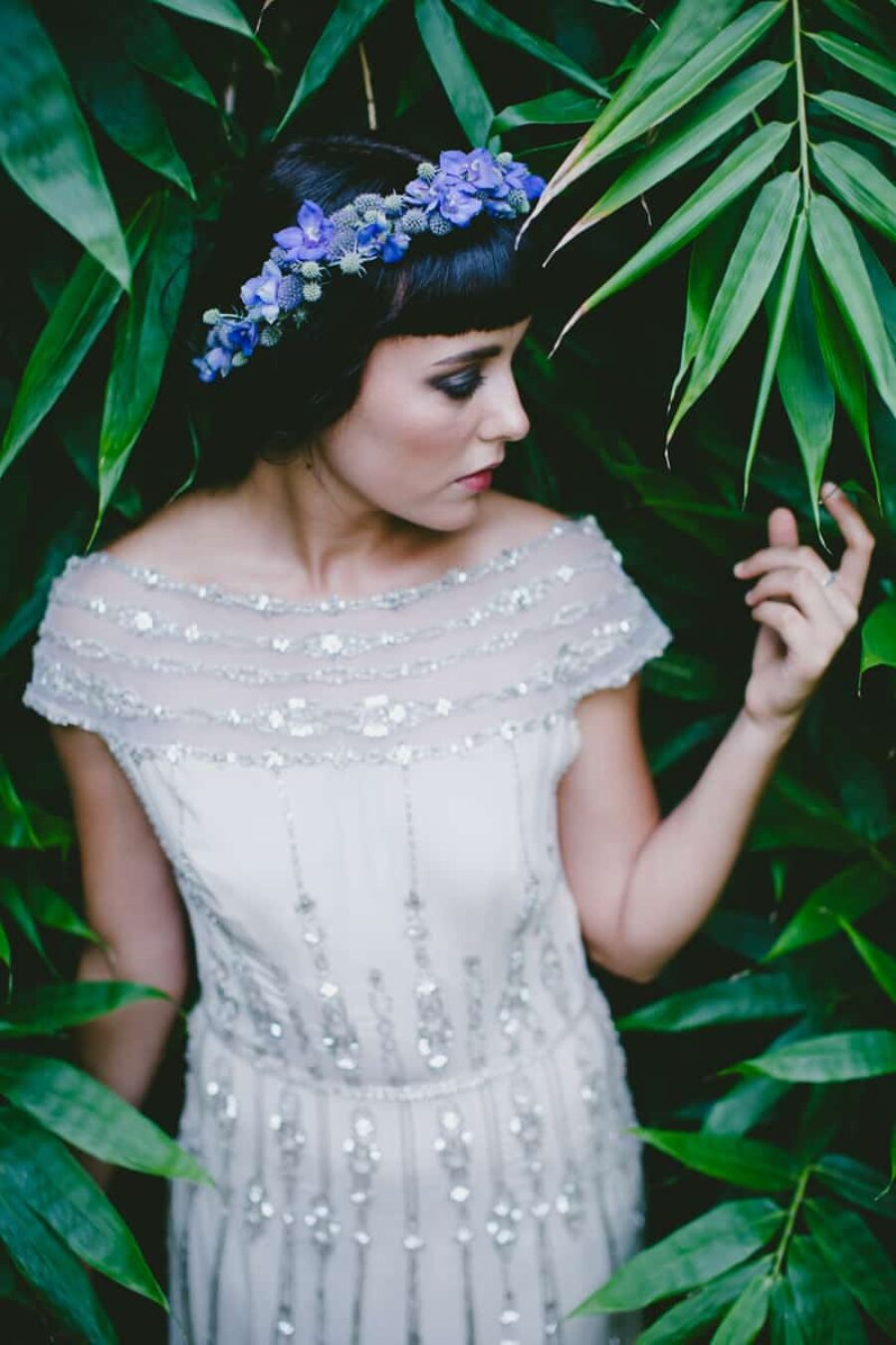violet and thistle flower crown