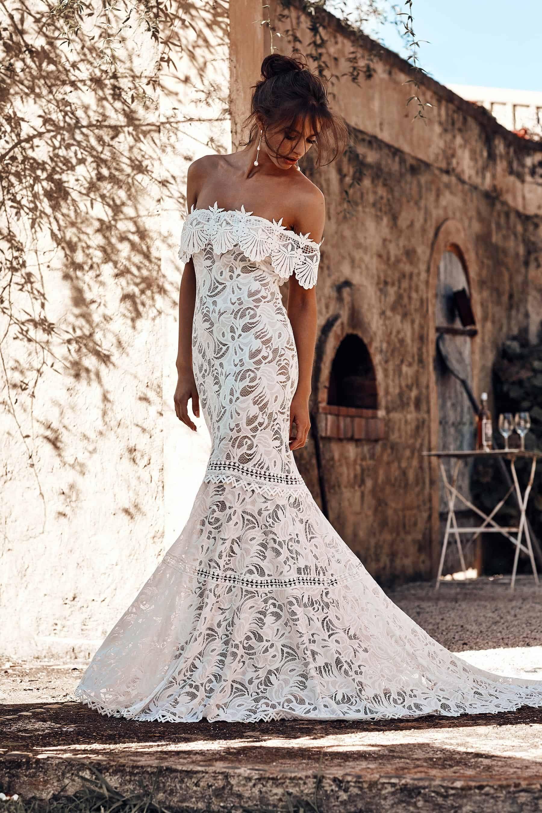 off-shoulder wedding dress by Grace Loves Lace