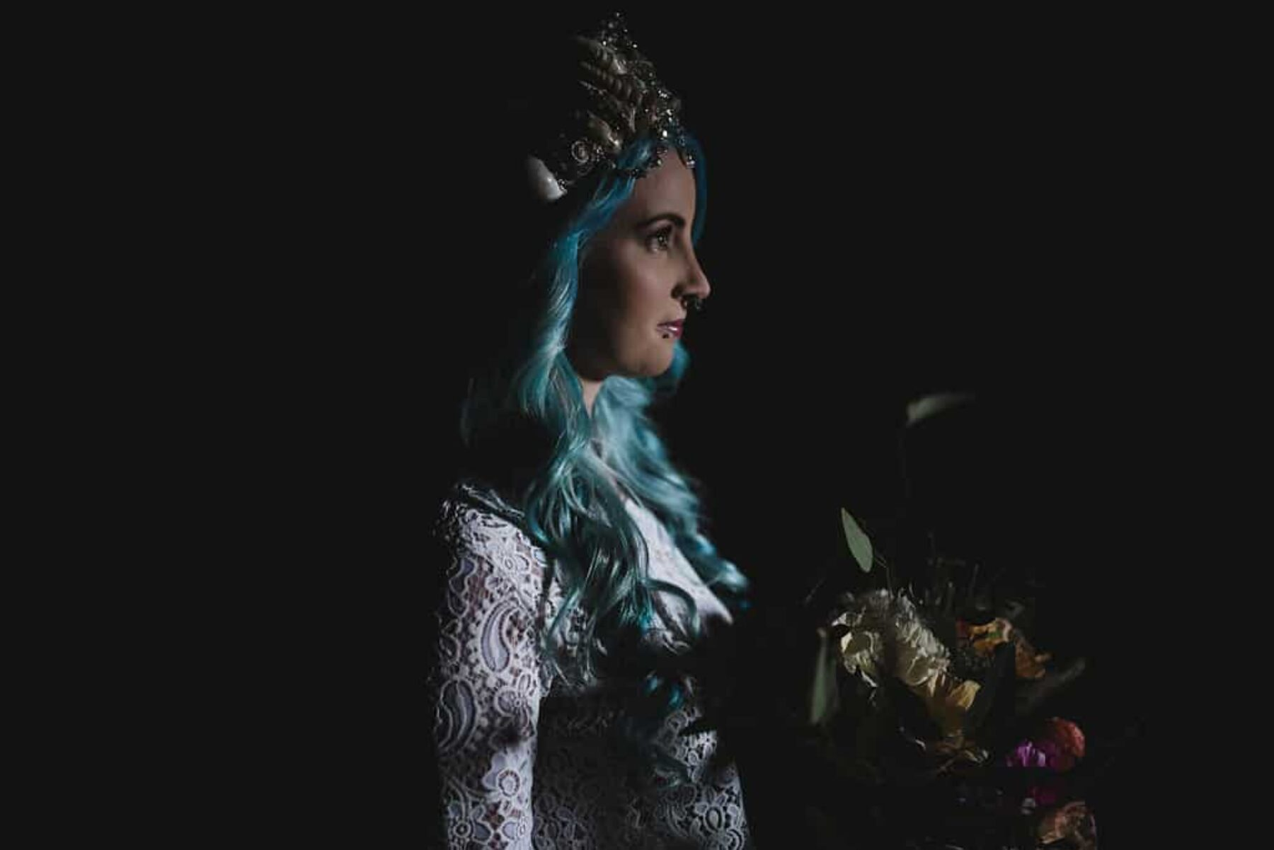 blue haired bride with mermaid crown