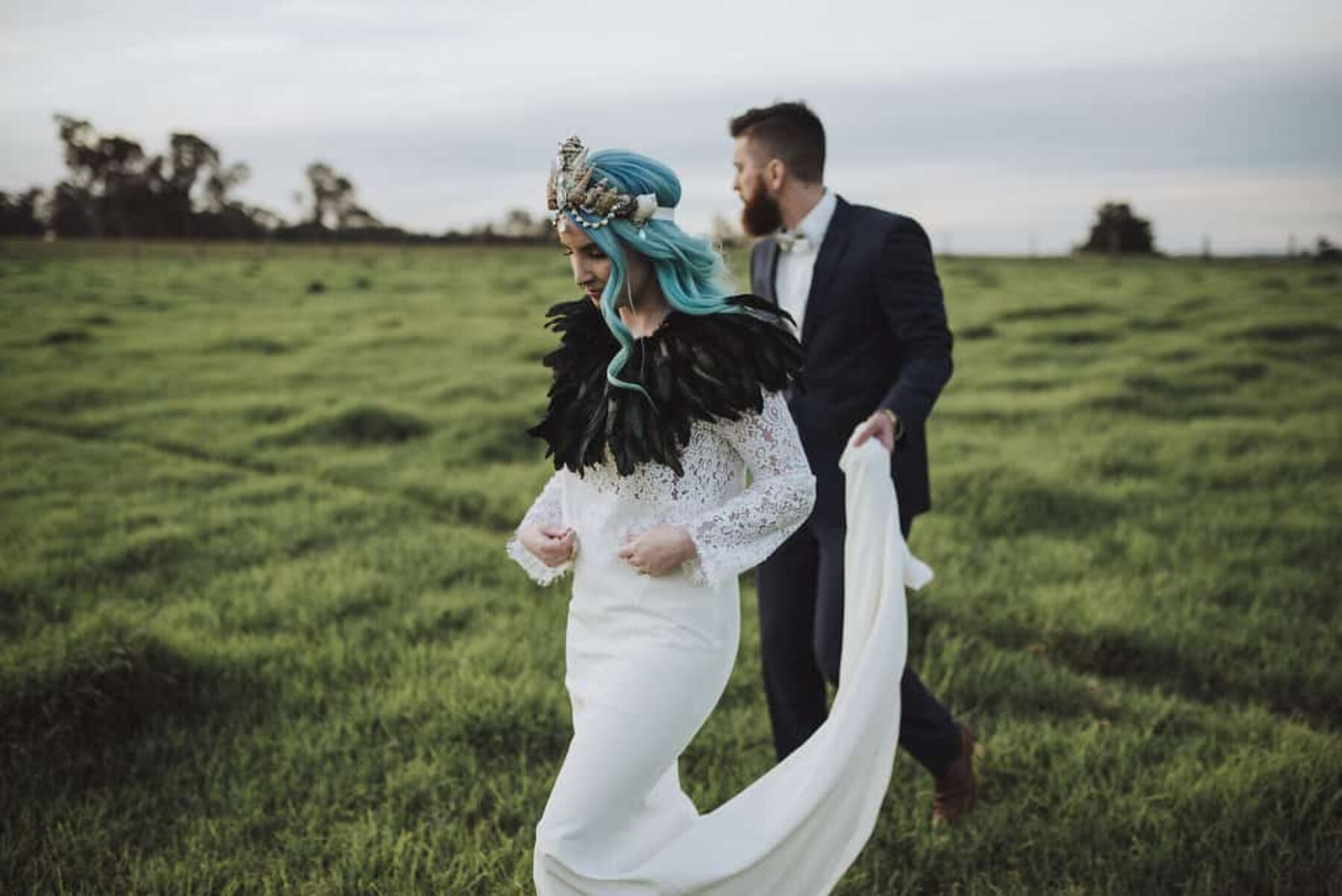 blue haired bride and bearded groom