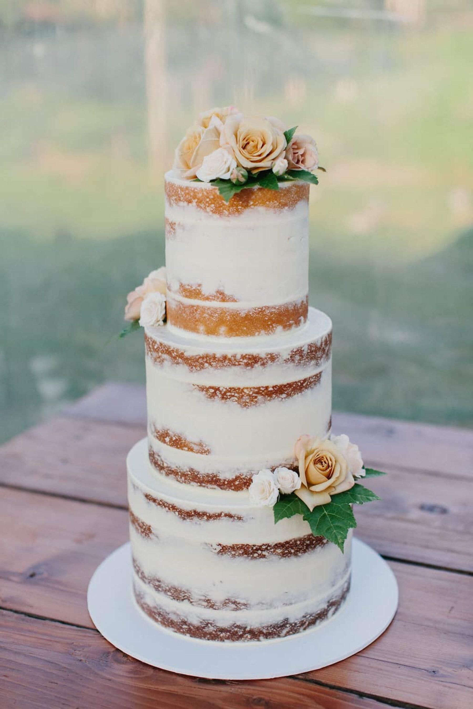 nearly-naked three tier wedding cake