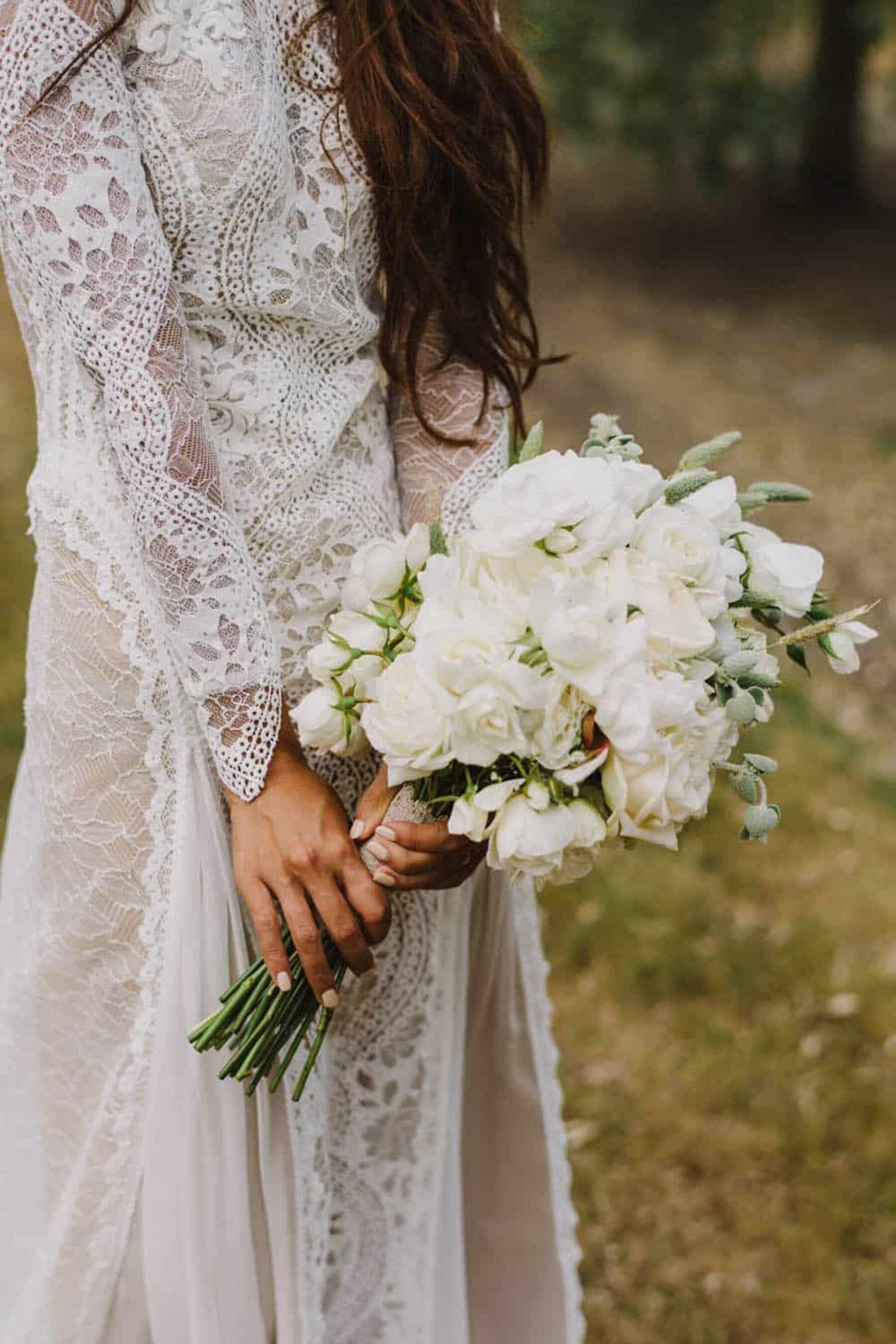 boho lace long sleeve wedding dress
