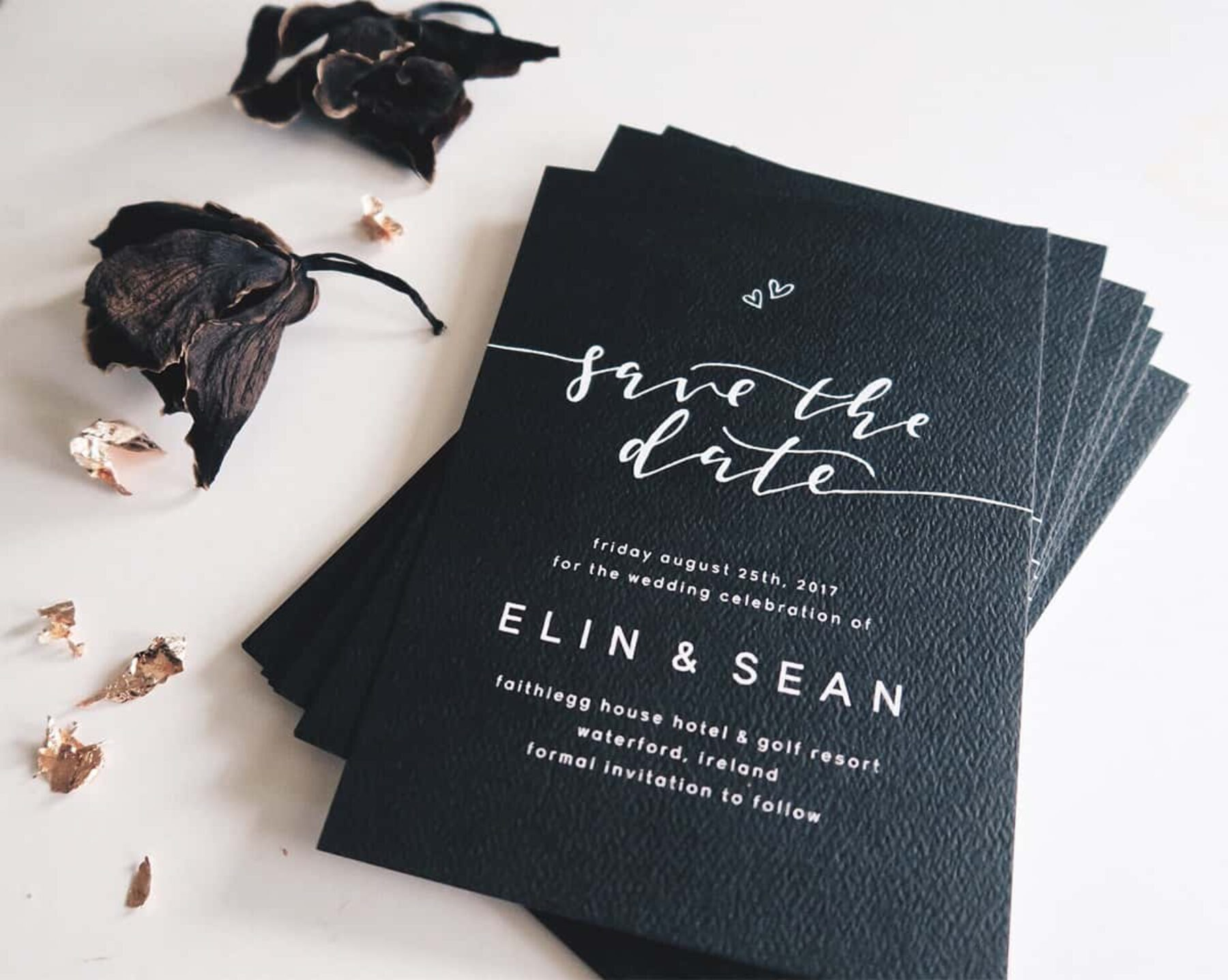 black and white calligraphy wedding stationery by Paige Tuzee