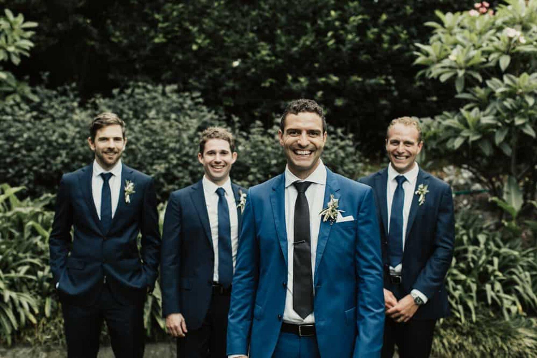 groomsmen in shades of blue