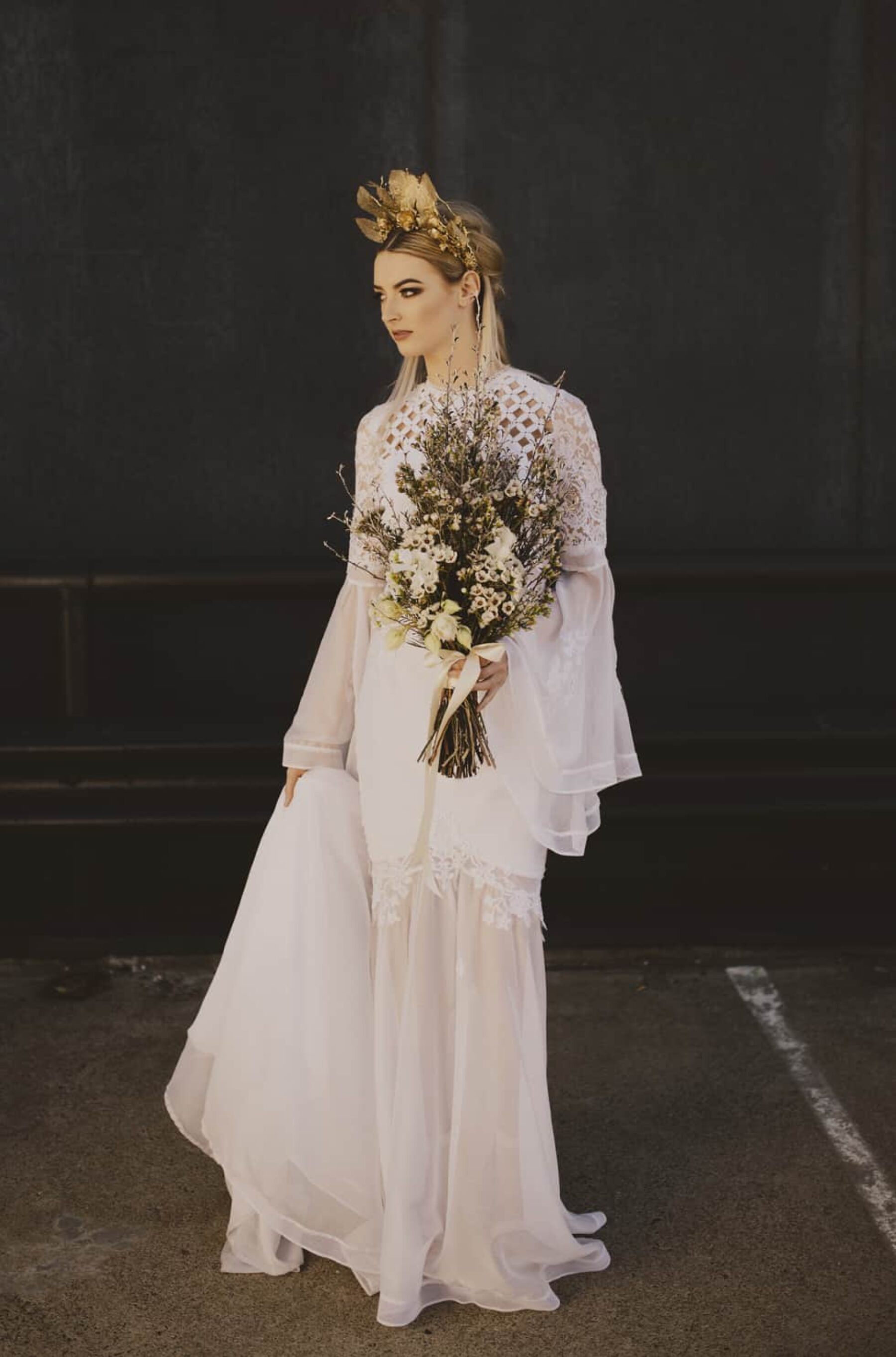 modern long sleeve lace wedding dress by Judy Copley Couture
