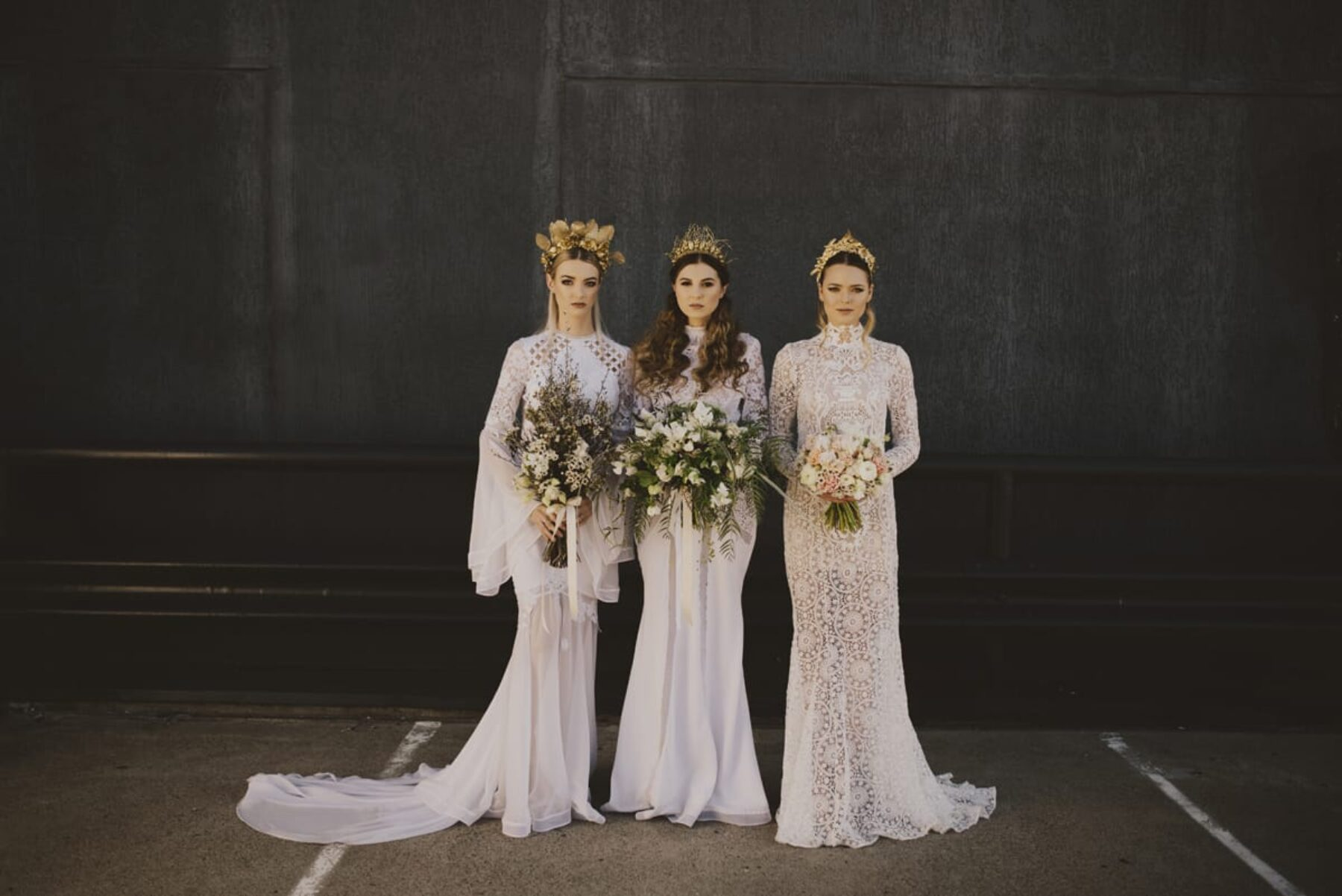 modern long sleeve lace wedding dresses by Judy Copley Couture