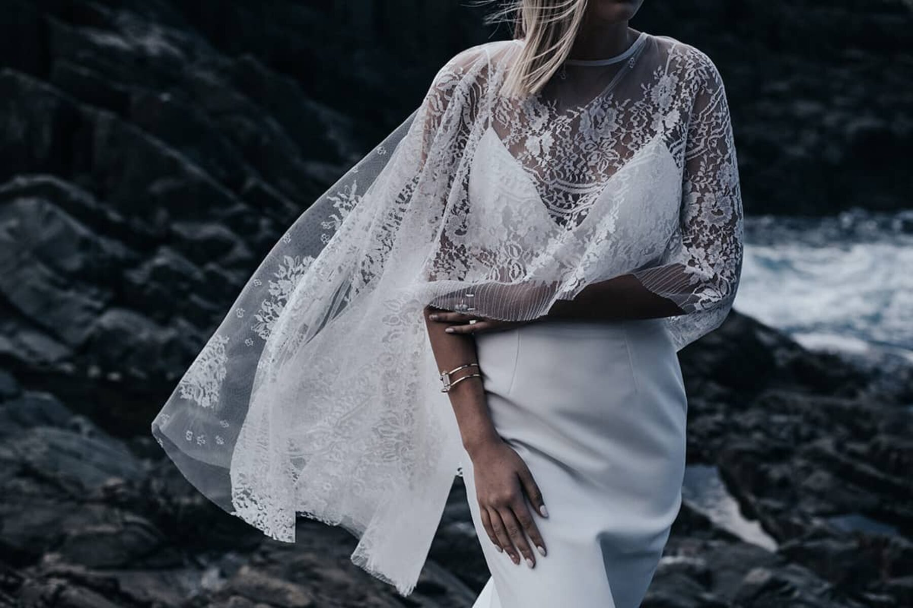 modern wedding dress and lace cape by Prea James Bridal