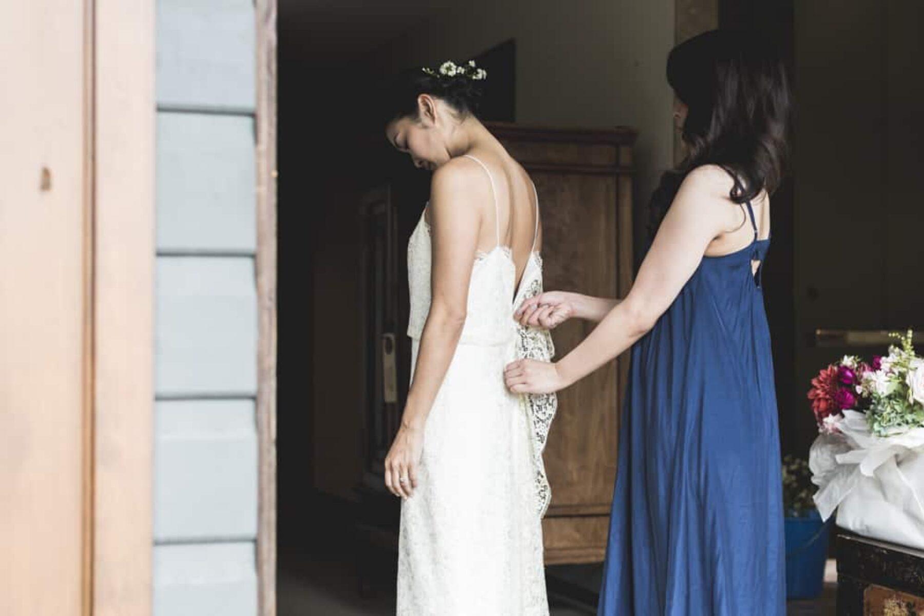 spaghetti strap wedding dress by Prea James Bridal