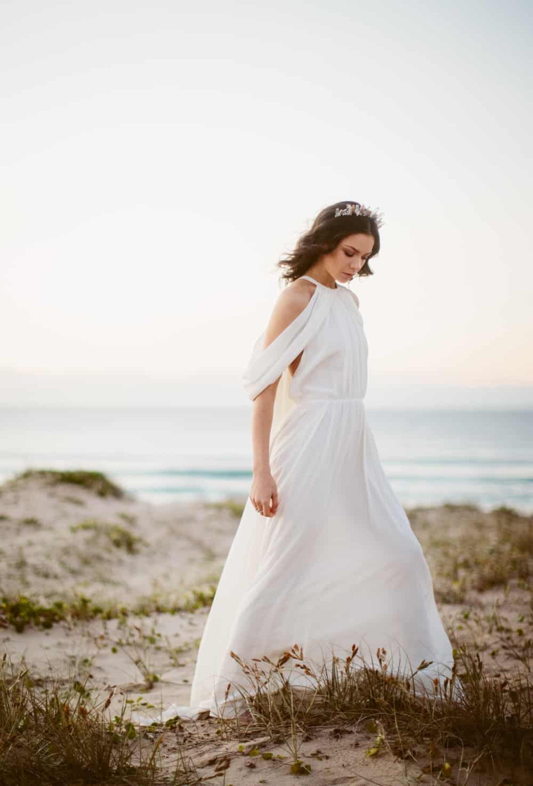 Grecian off-shoulder wedding dress by Odylyne the Ceremony