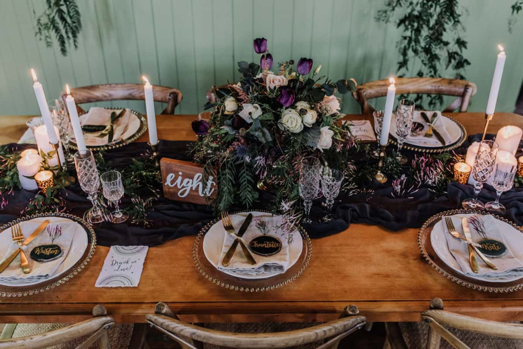 opulent tablescape in green and pruple