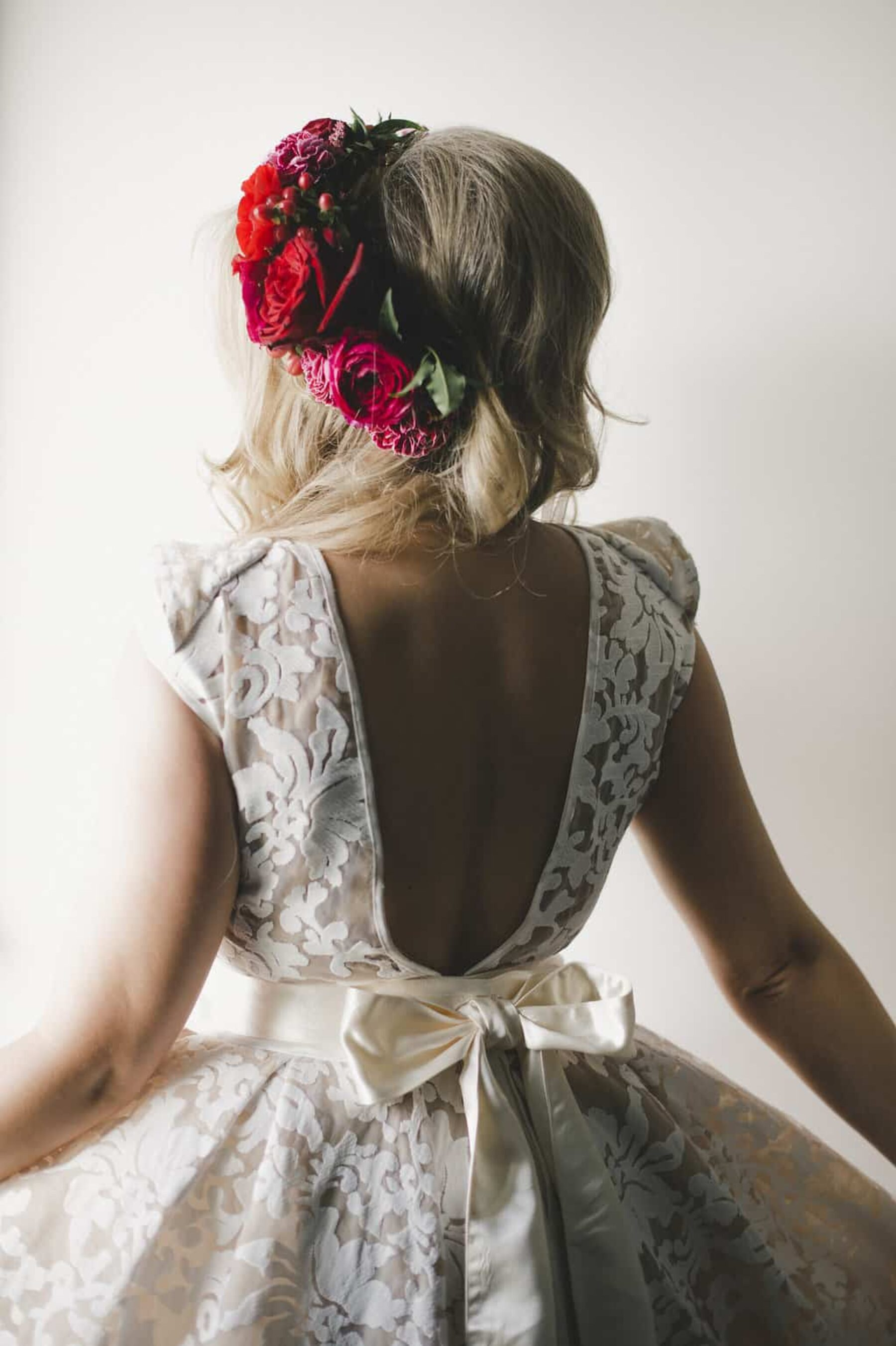vintage bride with bold red flower crown