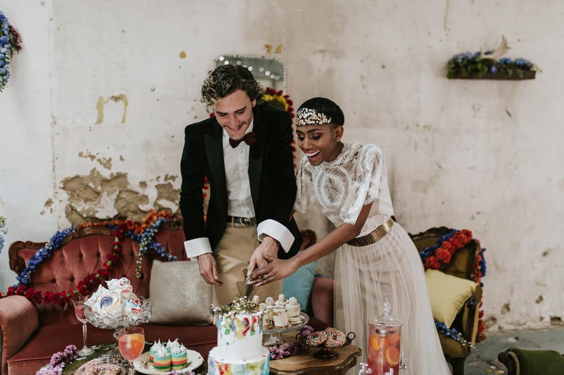 Colour Explosion - vitage/industrial wedding at Church of Bang Bang Boogaloo