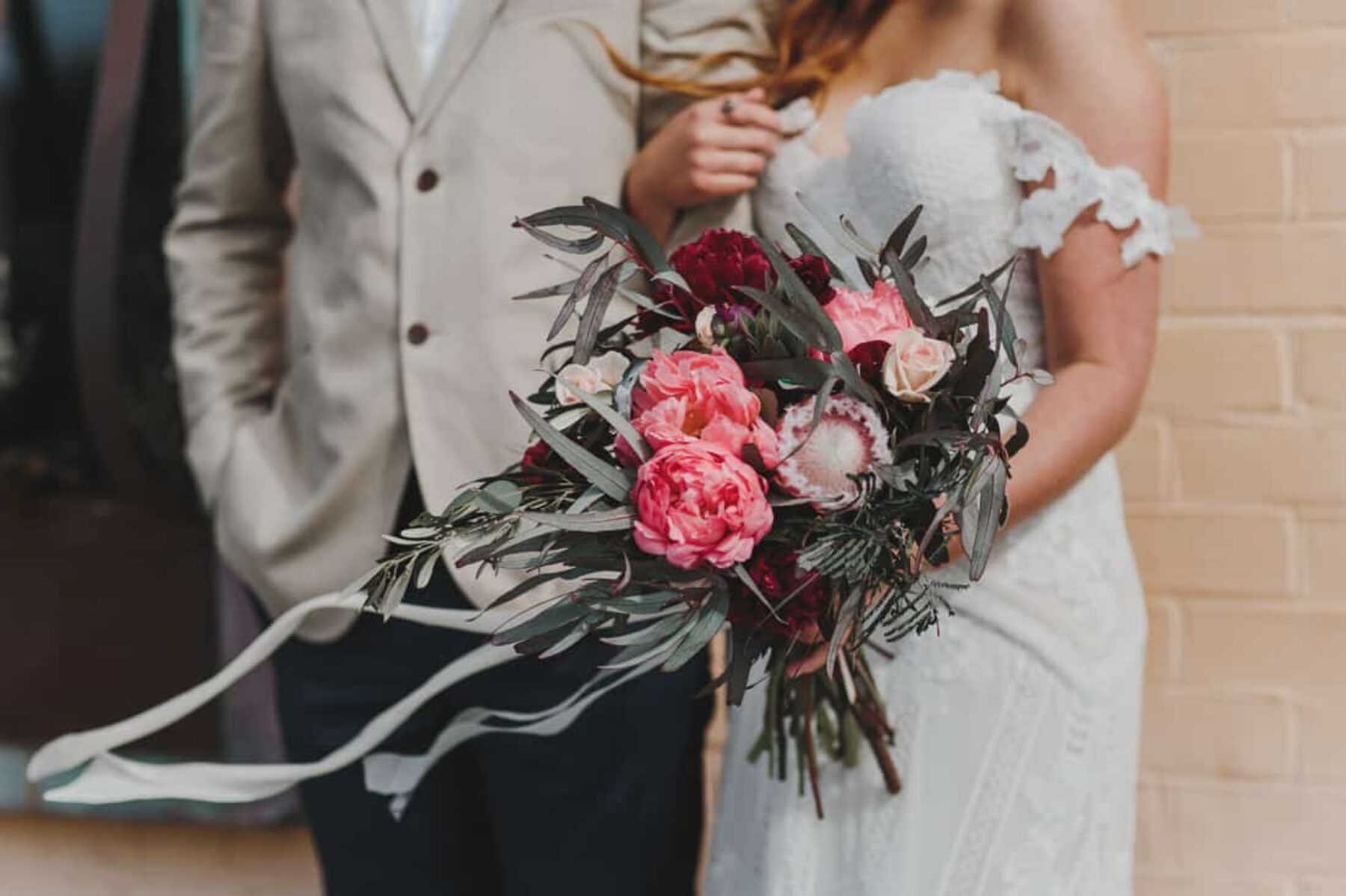 pink peony and protea bouquet