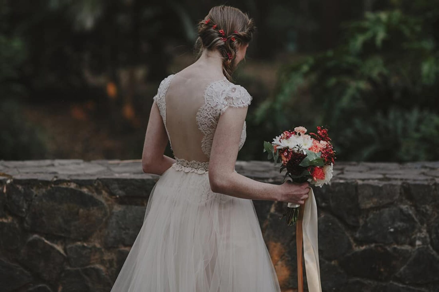 two piece wedding dress with scalloped back