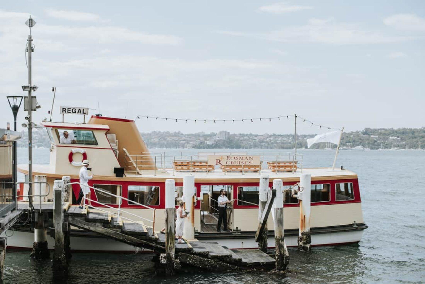 Sydney Harbour wedding on a vintage ferry