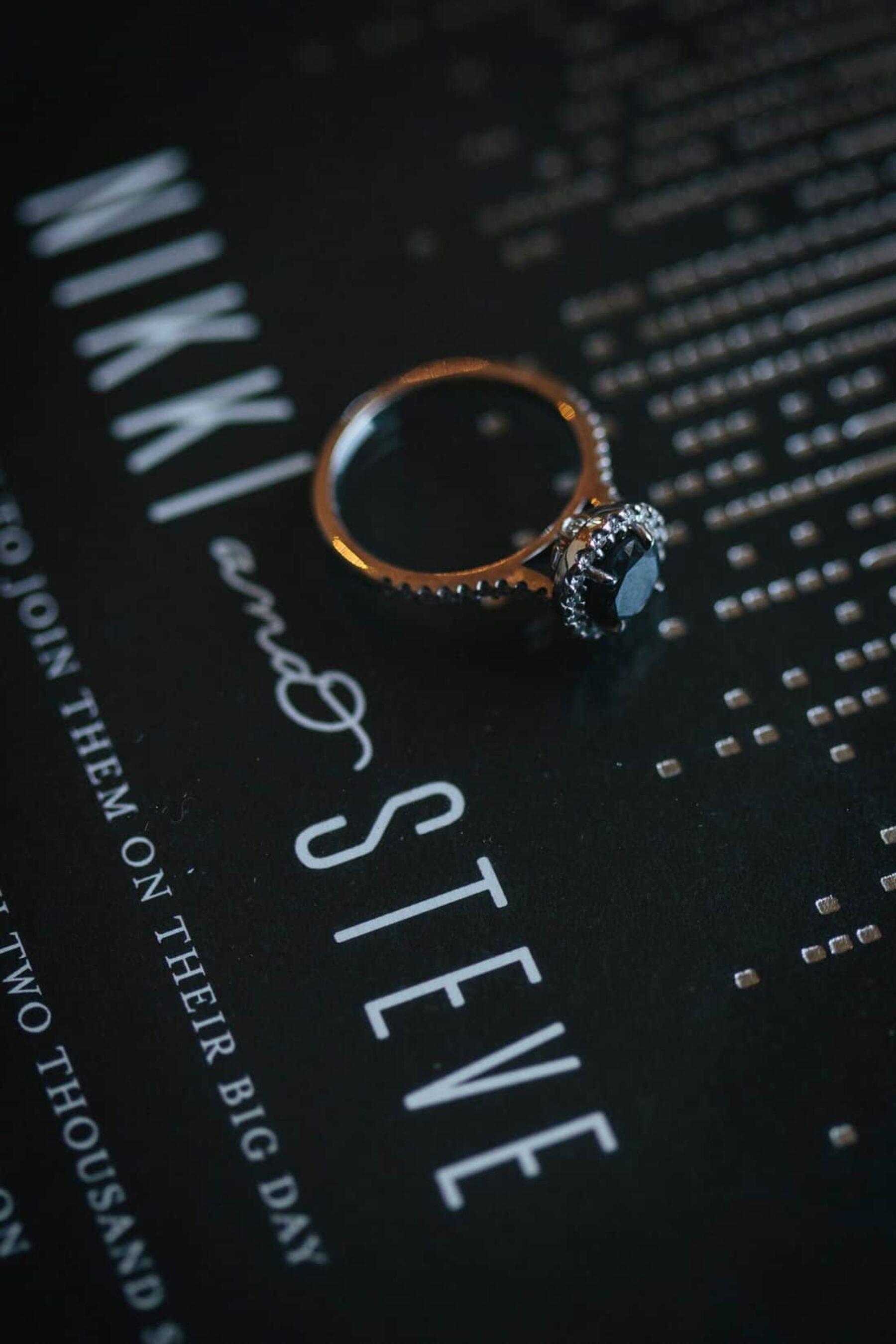 black diamond rosette engagement ring