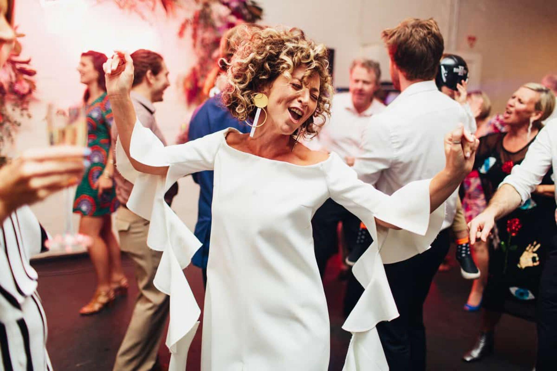 modern bell-sleeve wedding dress by Ellery
