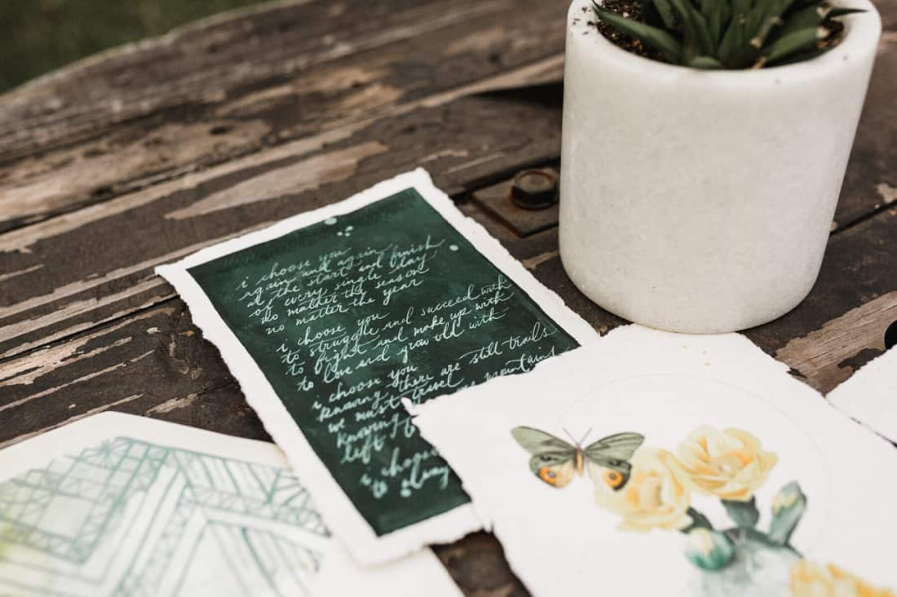 calligraphy and watercolour wedding invitations