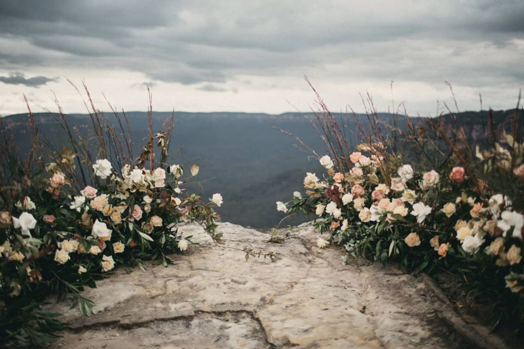 mountain wedding with floral altar