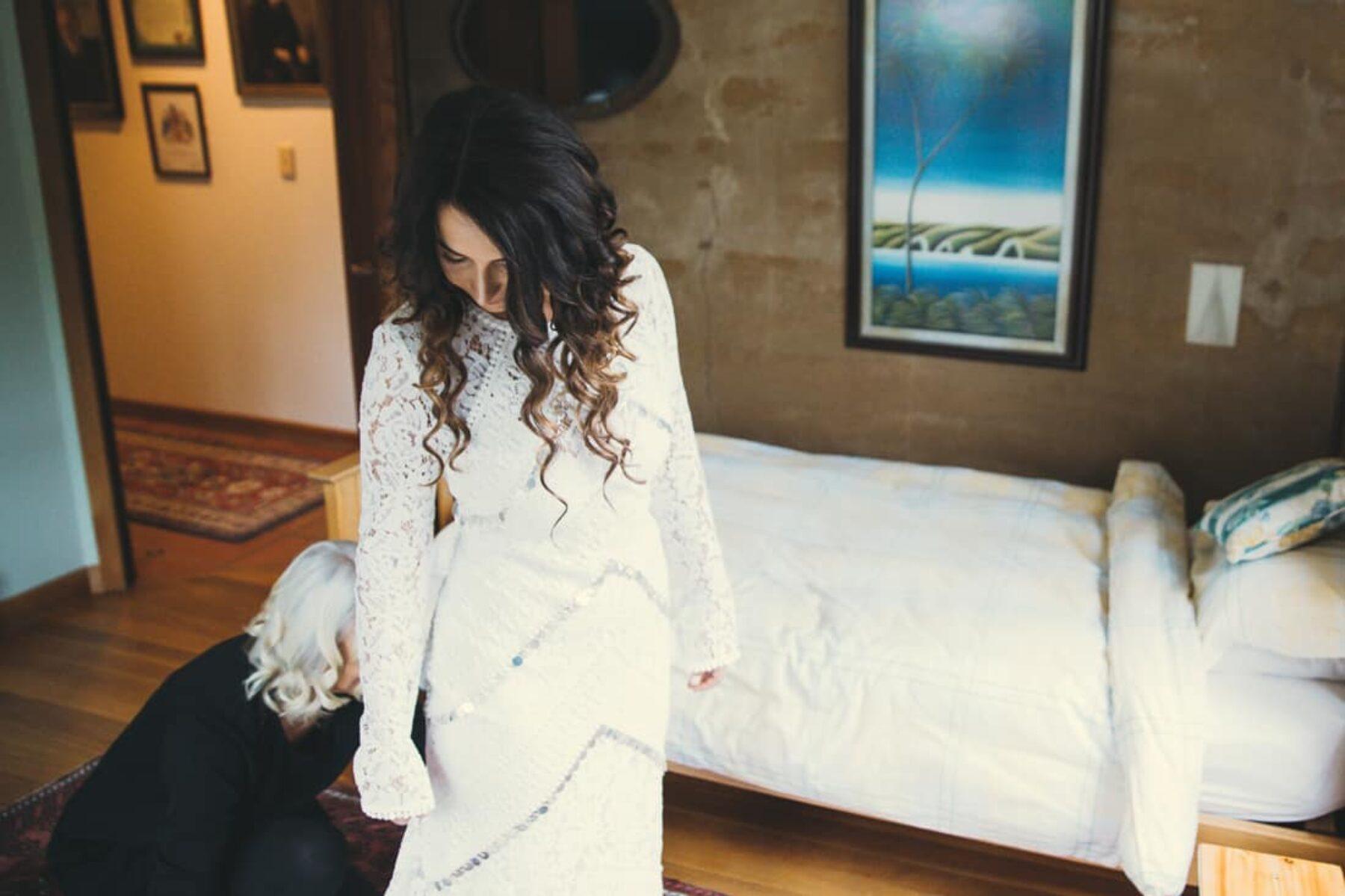 long-sleeve lace wedding dress by Rue de Seine