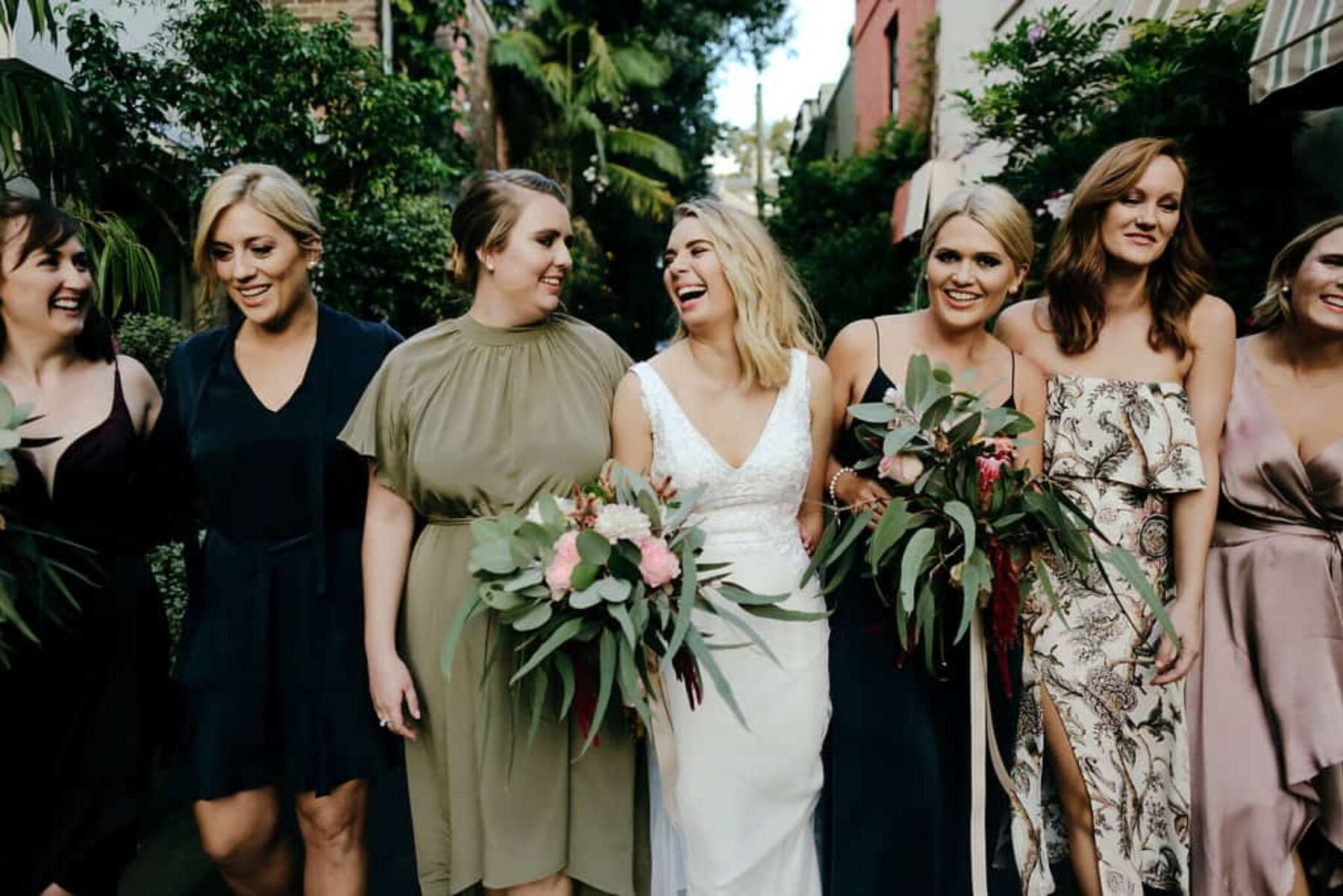 modern bride with mismatched bridesmaids