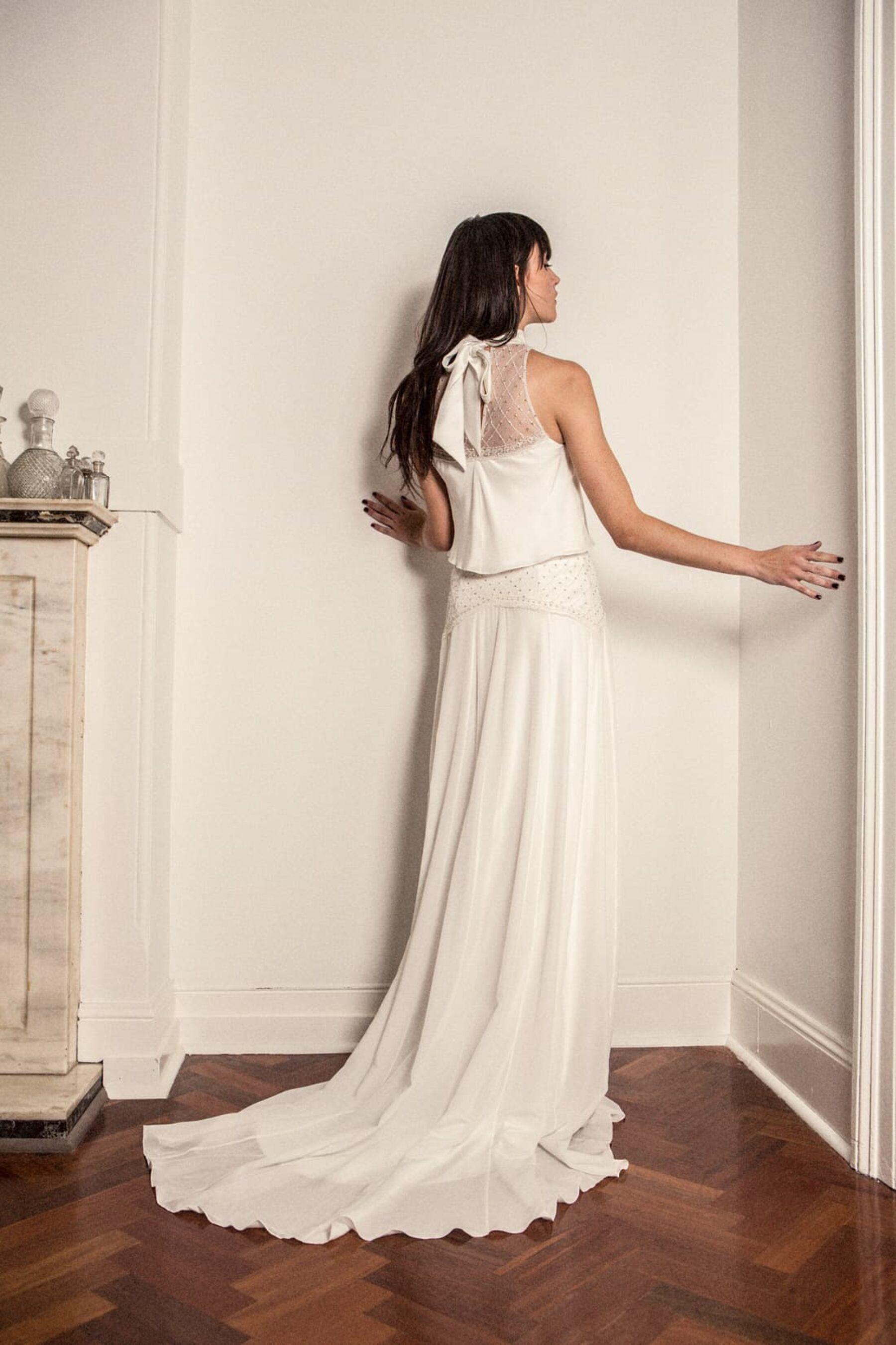 halterneck wedding dress by Bo & Luca
