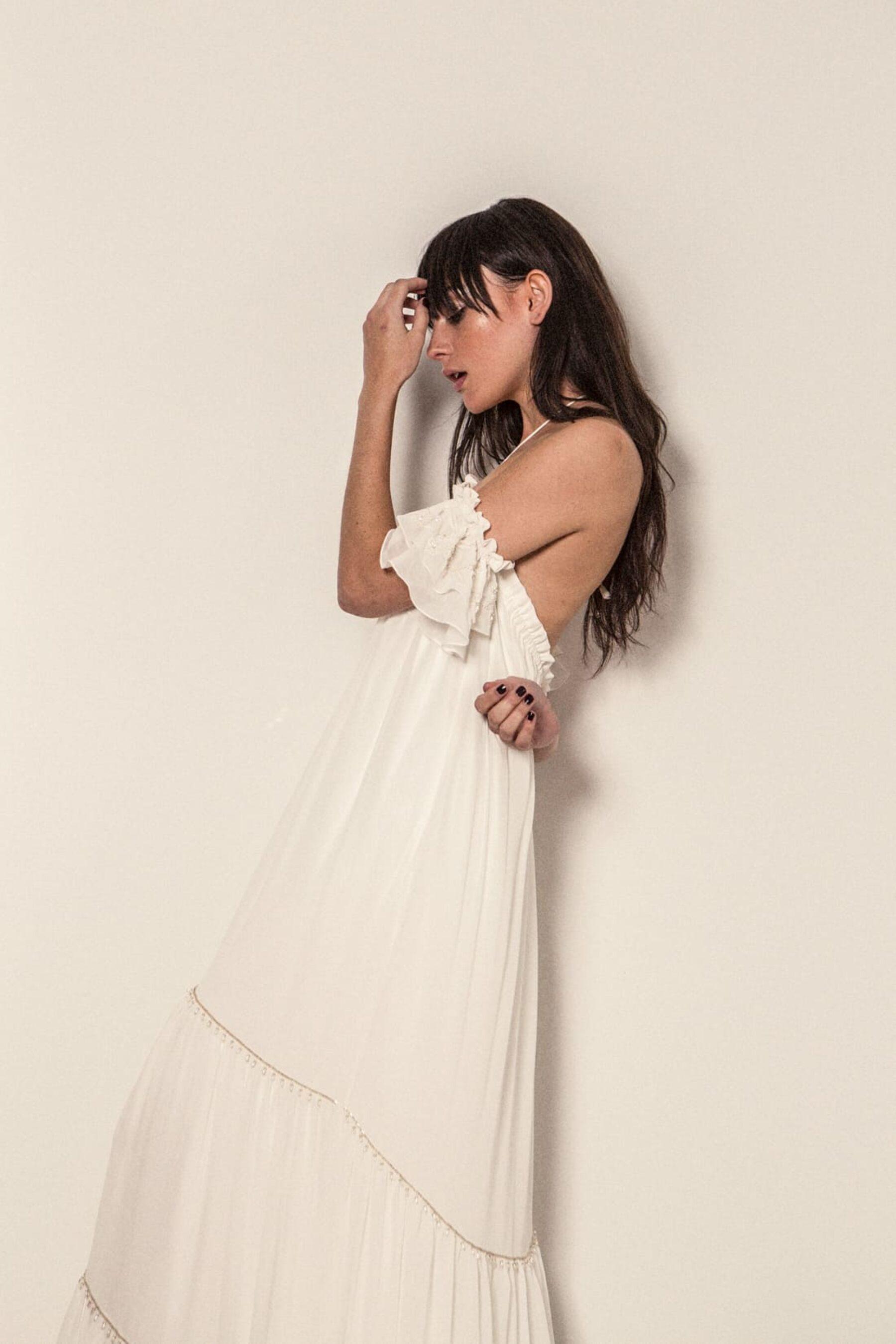 off-shoulder wedding dress by Bo & Luca