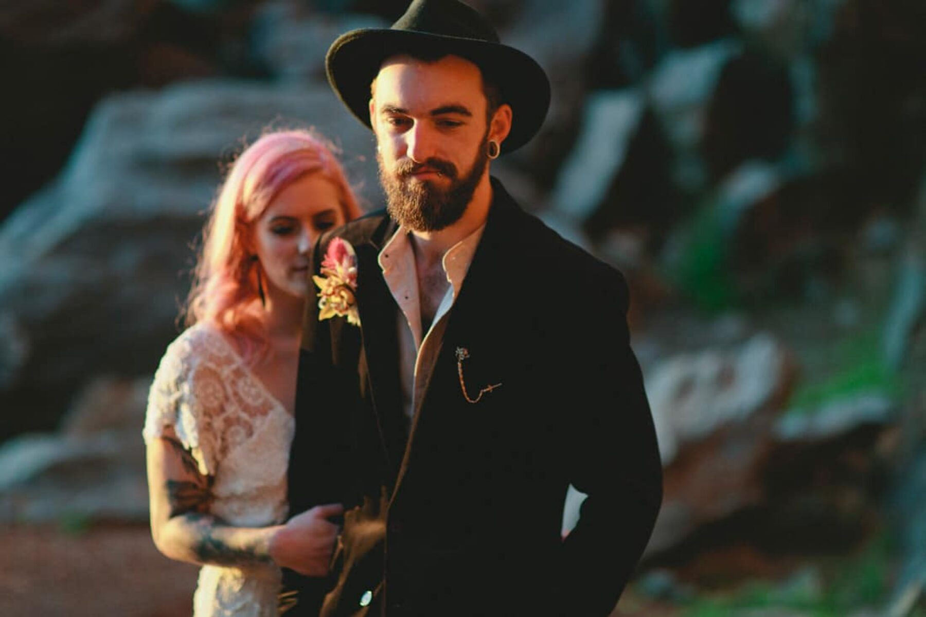 pink haired bride and hipster groom