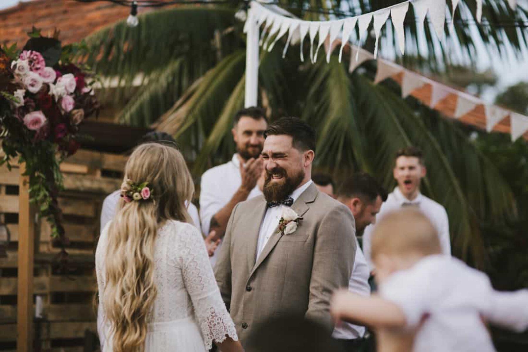 DIY backyard wedding with a vintage-bohemian vibe
