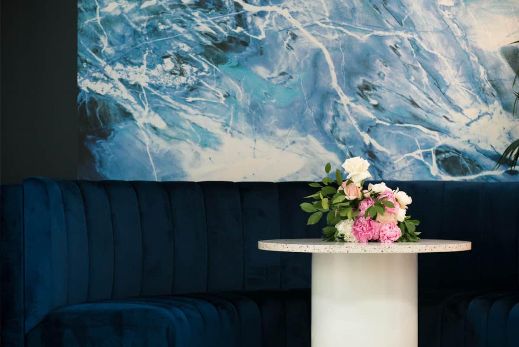 blue velvet couch - Dann Event Hire Melbourne